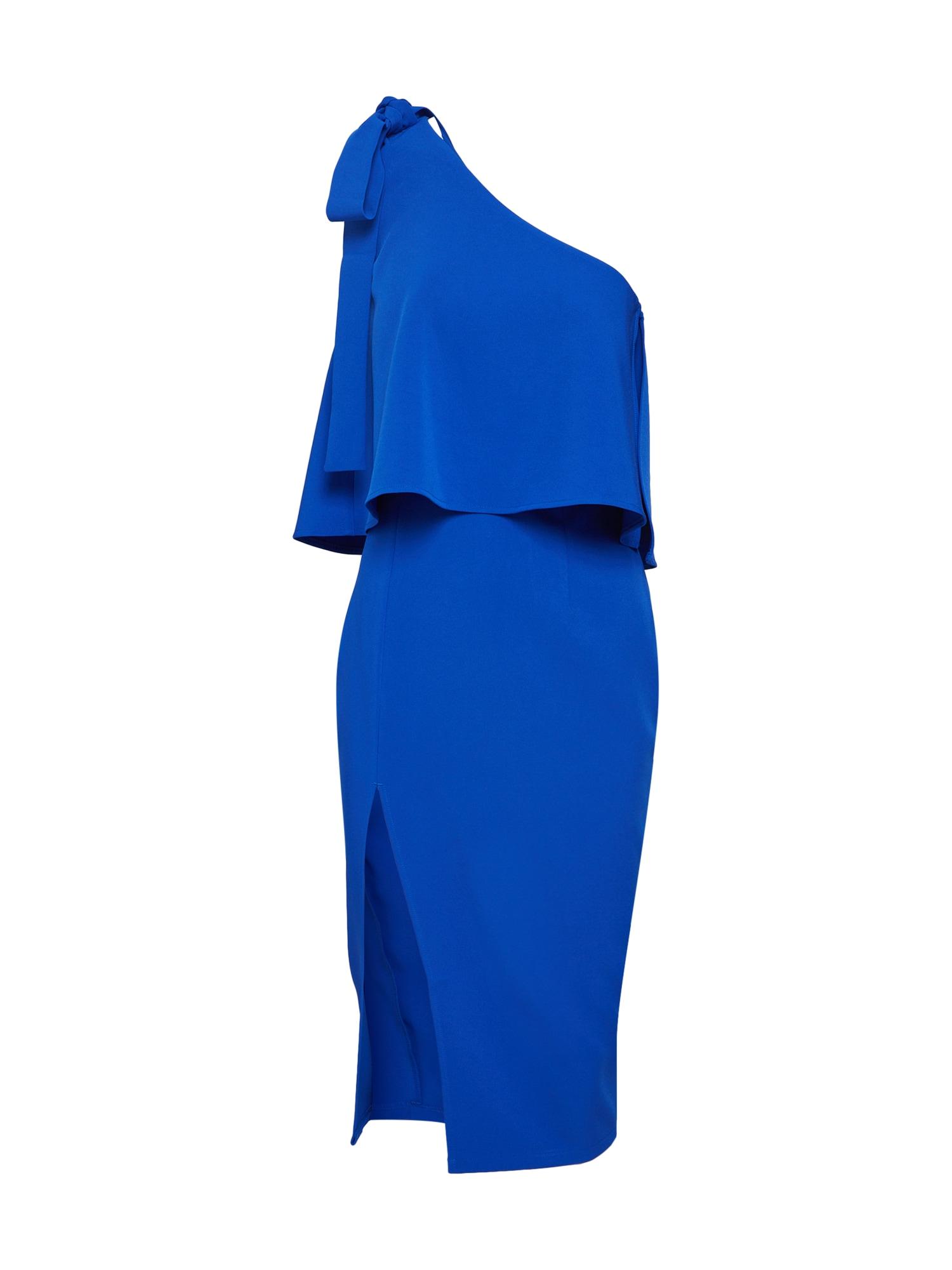 Missguided Rochie de cocktail 'Blue Crepe One Shoulder Bow Sleeve Midi Dress'  albastru