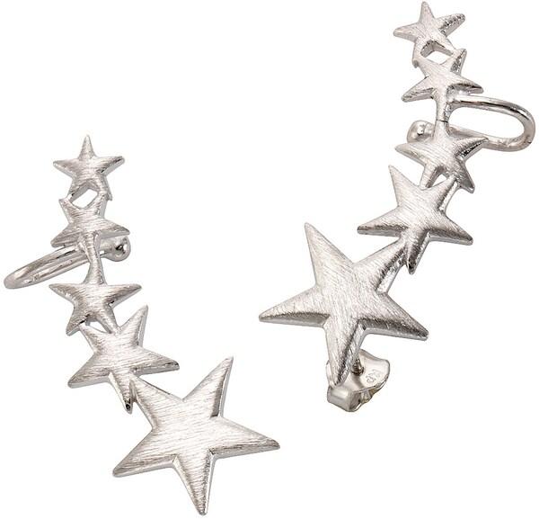 Ohrringe für Frauen - FIRETTI Ohrstecker mit Uhrklemme 'Ear Cuffs, Sterne' silber  - Onlineshop ABOUT YOU