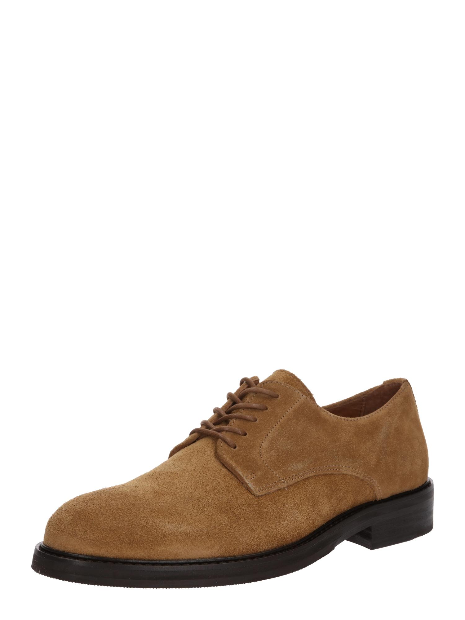 SELECTED HOMME Sportinio stiliaus batai su raišteliais 'SLHFILIP SUEDE DERBY SHOE B' smėlio