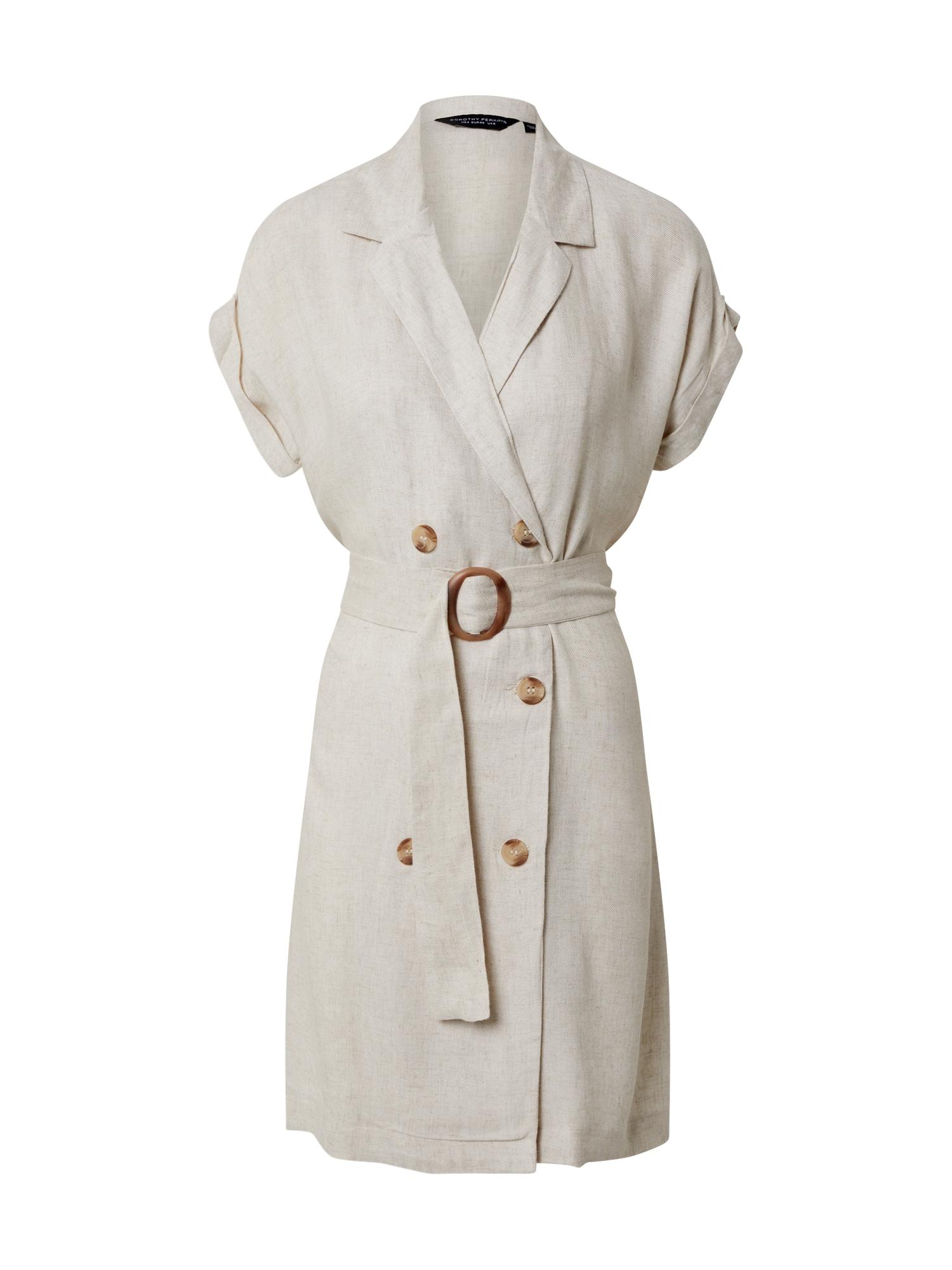 Dorothy Perkins Košeľové šaty 'Stone Double Breasted Shirt Dress'  béžová