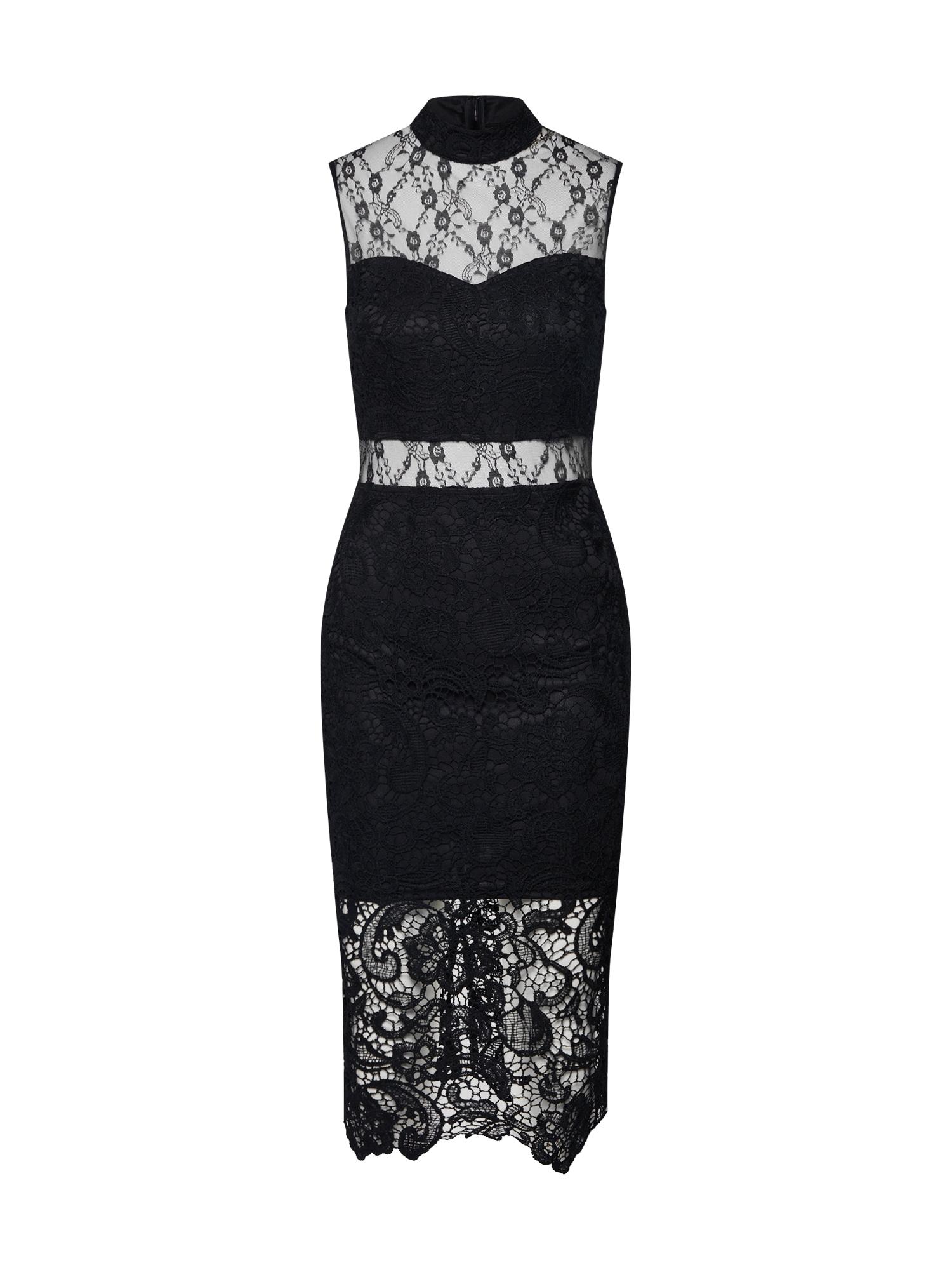 Missguided Rochie de cocktail 'High Neck Sleeveless Lace and Crochet Dress'  negru