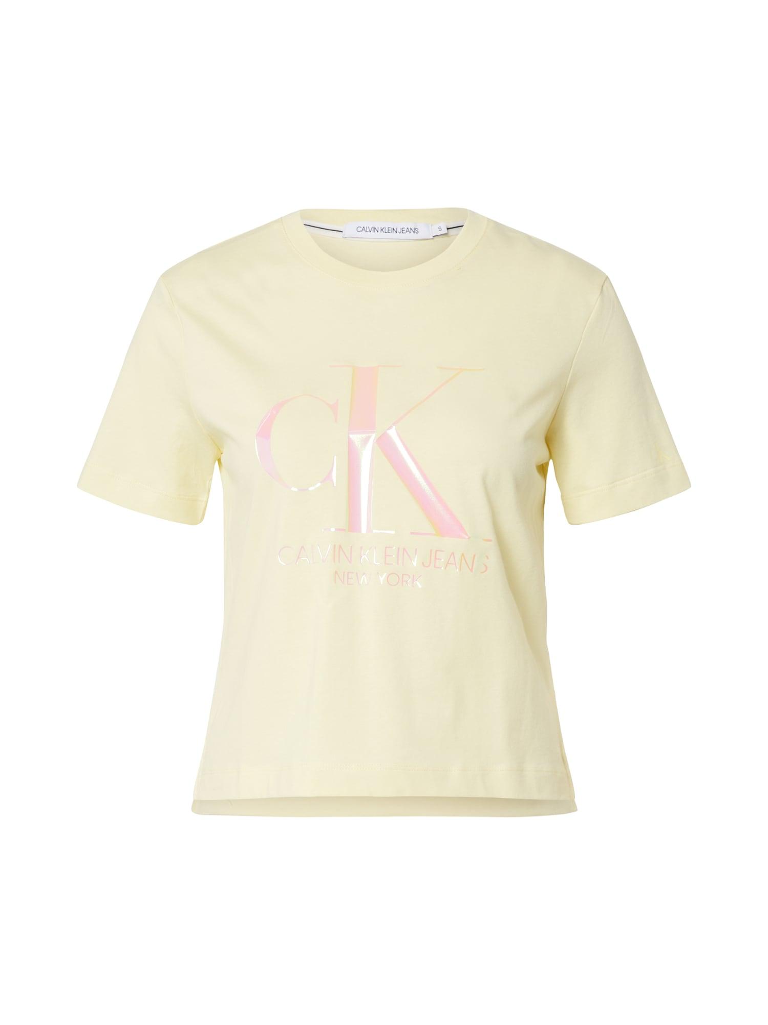 Calvin Klein Marškinėliai 'IRIDESCENT' geltona / rožinė