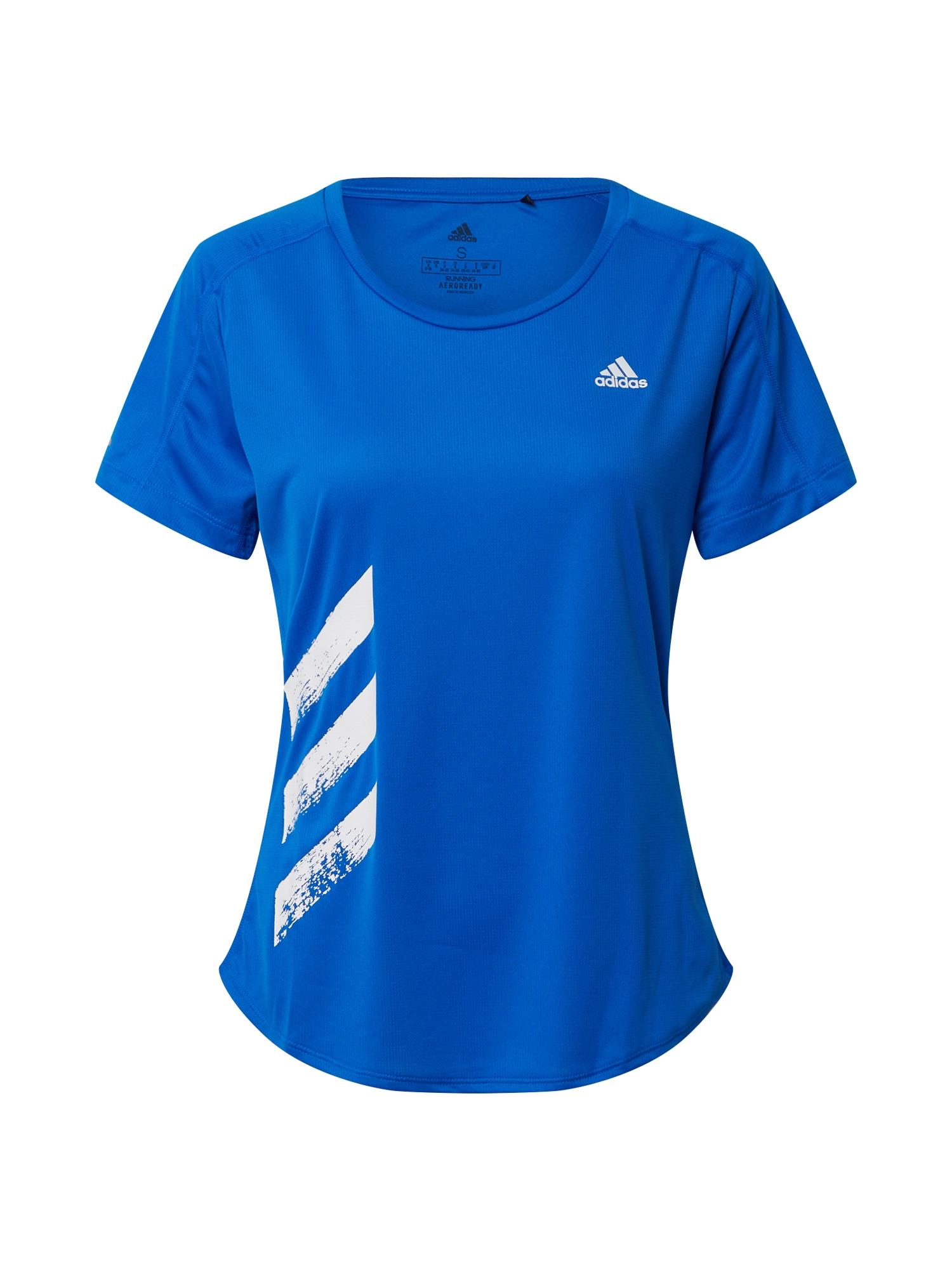 ADIDAS PERFORMANCE Funkčné tričko 'RUN IT TEE 3S W'  modré / biela