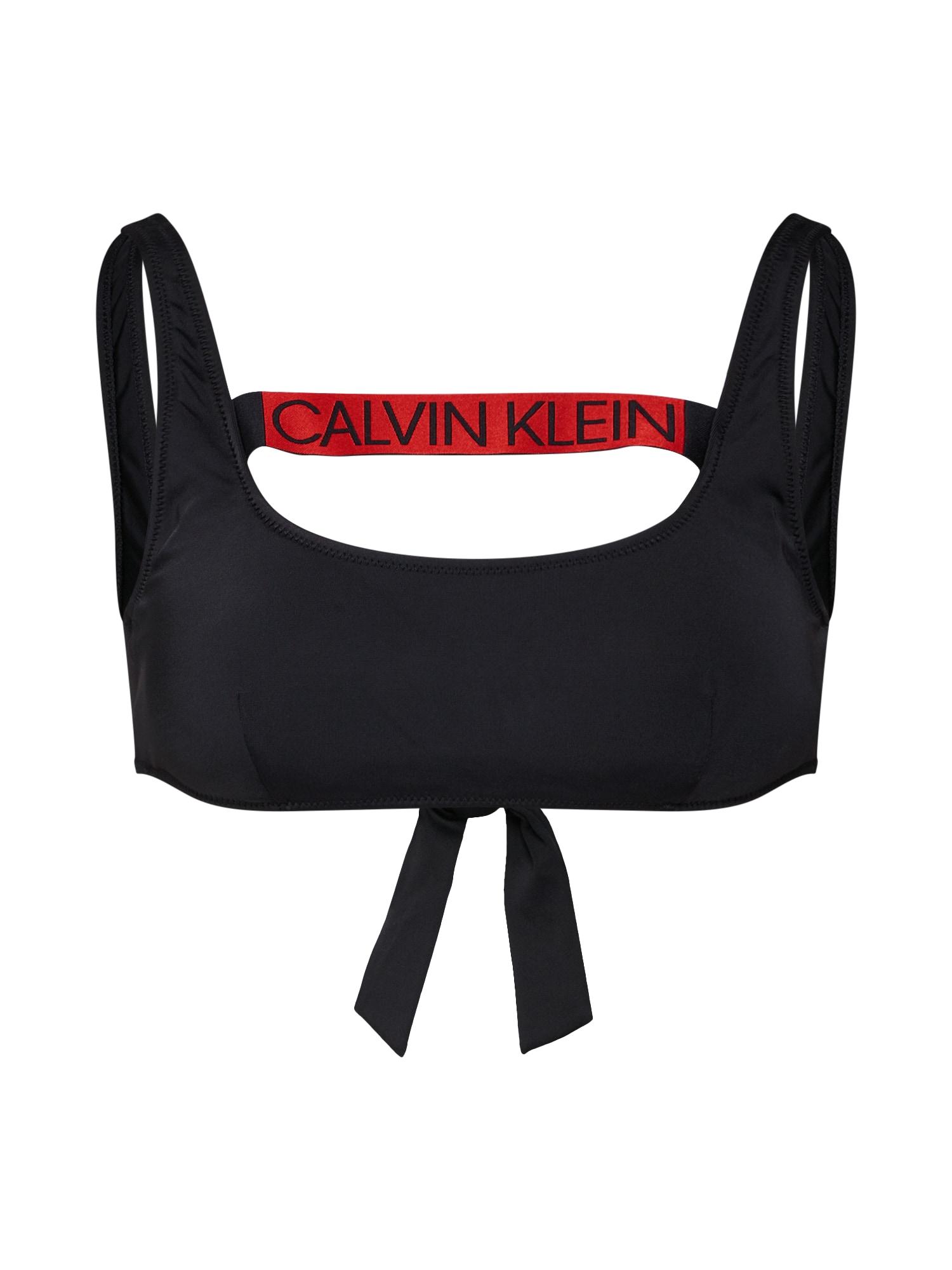 Horní díl plavek TIE BACK BRALETTE RP červená černá Calvin Klein Swimwear