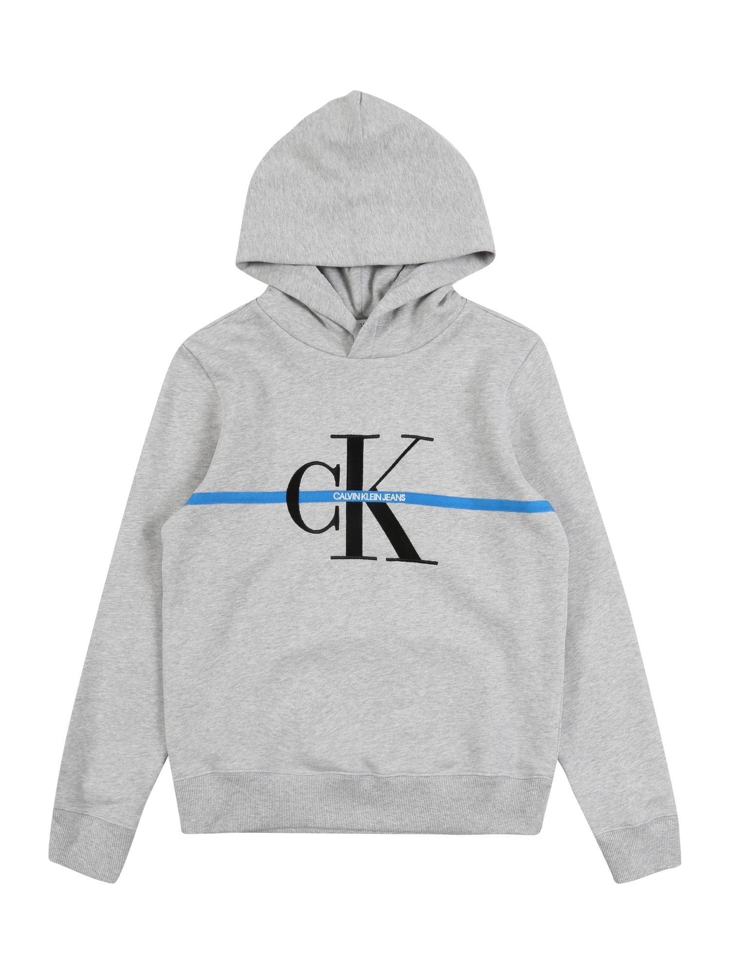 Calvin Klein Jeans Megztinis be užsegimo margai pilka / mėlyna