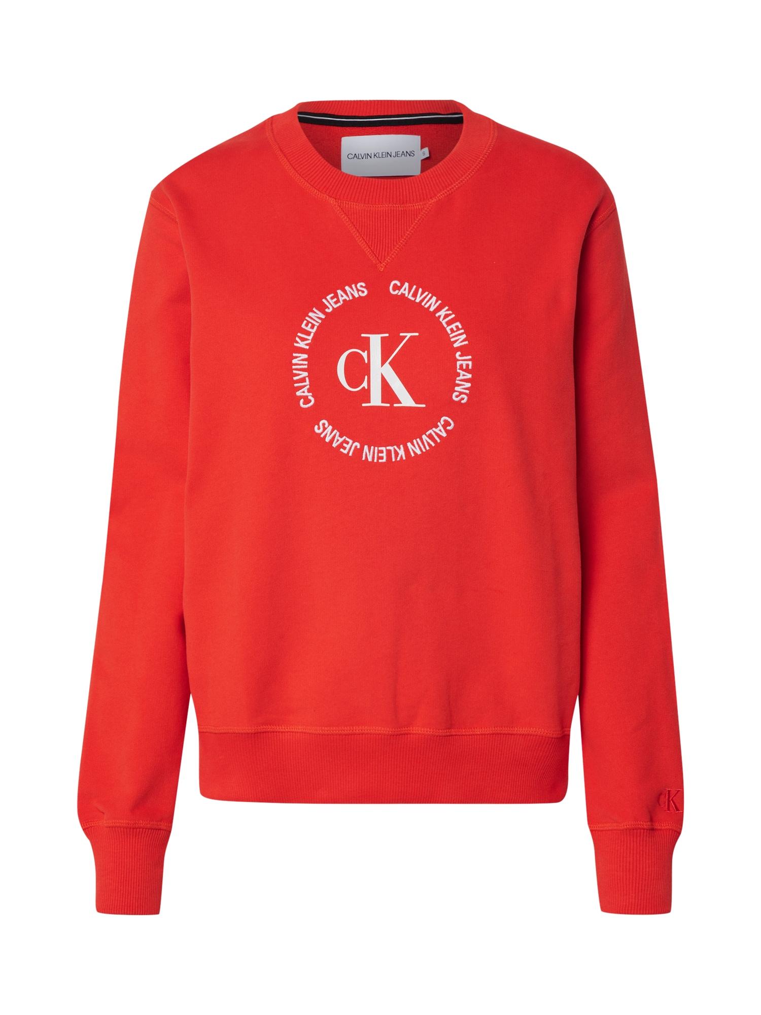 Calvin Klein Jeans Megztinis be užsegimo raudona / balta