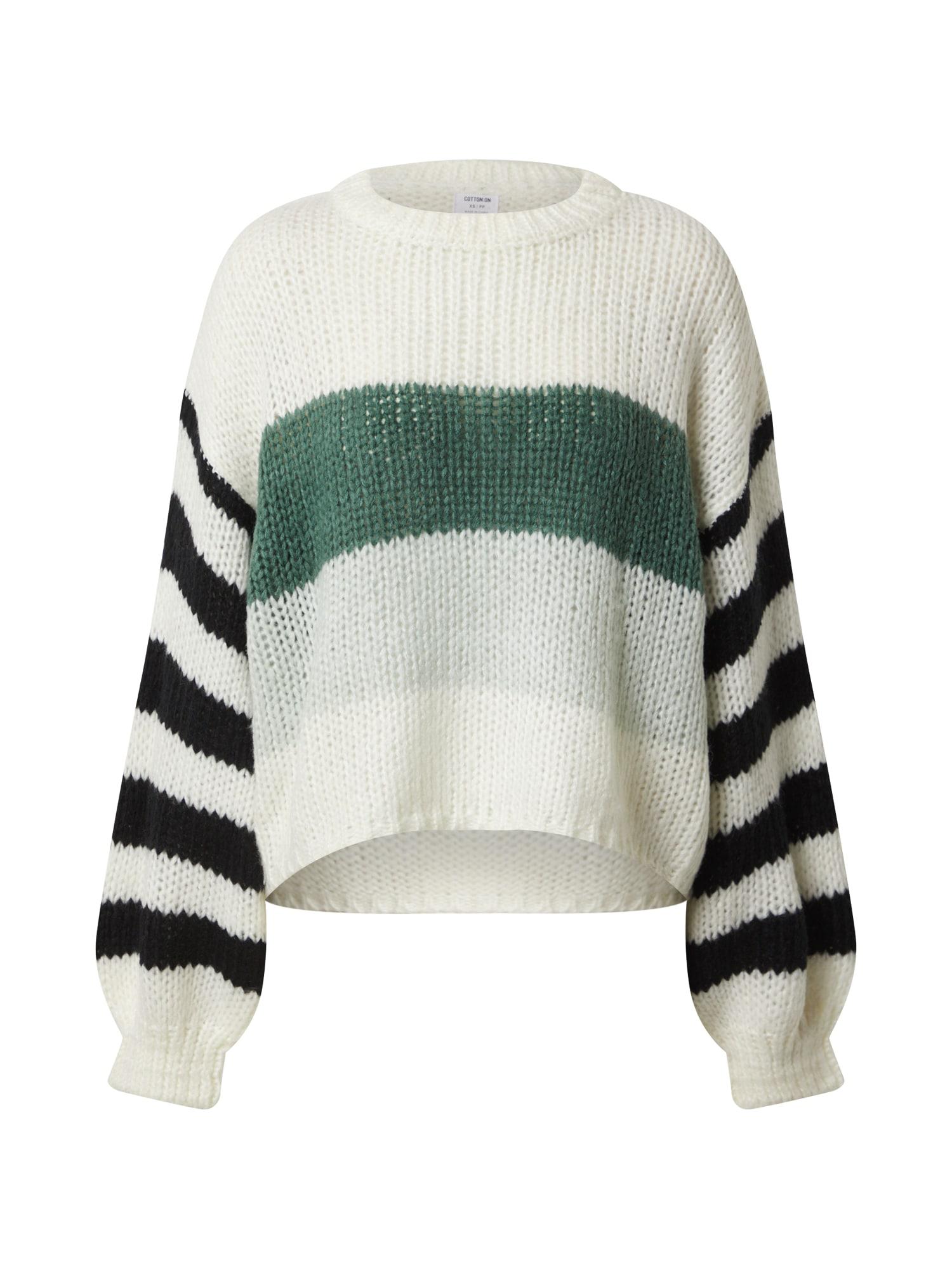 Cotton On Sveter  zelená / biela / čierna