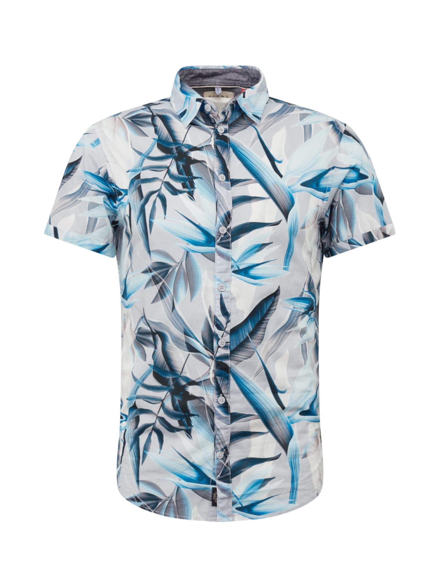 BLEND Dalykiniai marškiniai mėlyna / pilka / smėlio