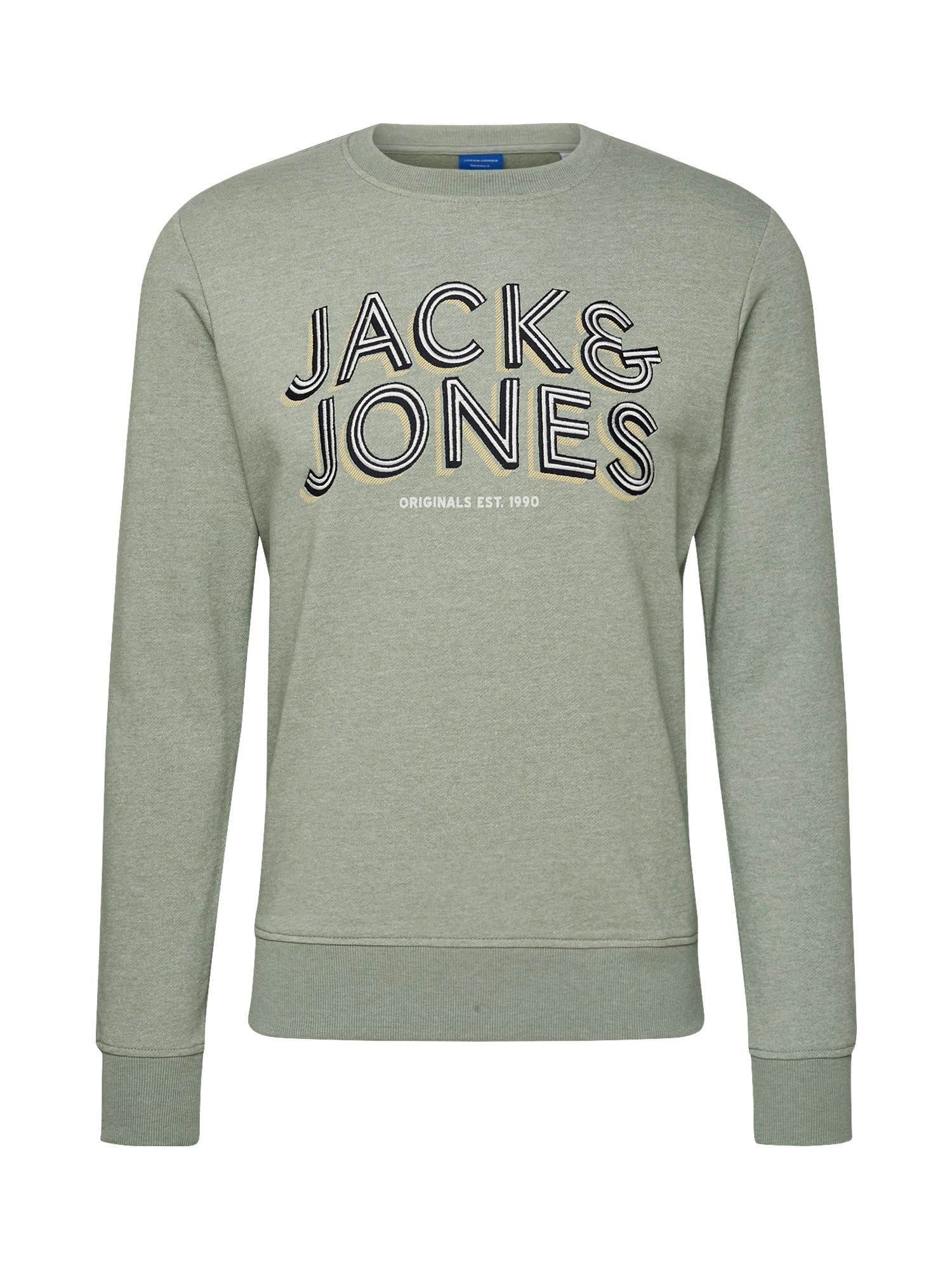 JACK & JONES Mikina  pastelovo zelená / žlté / čierna / biela