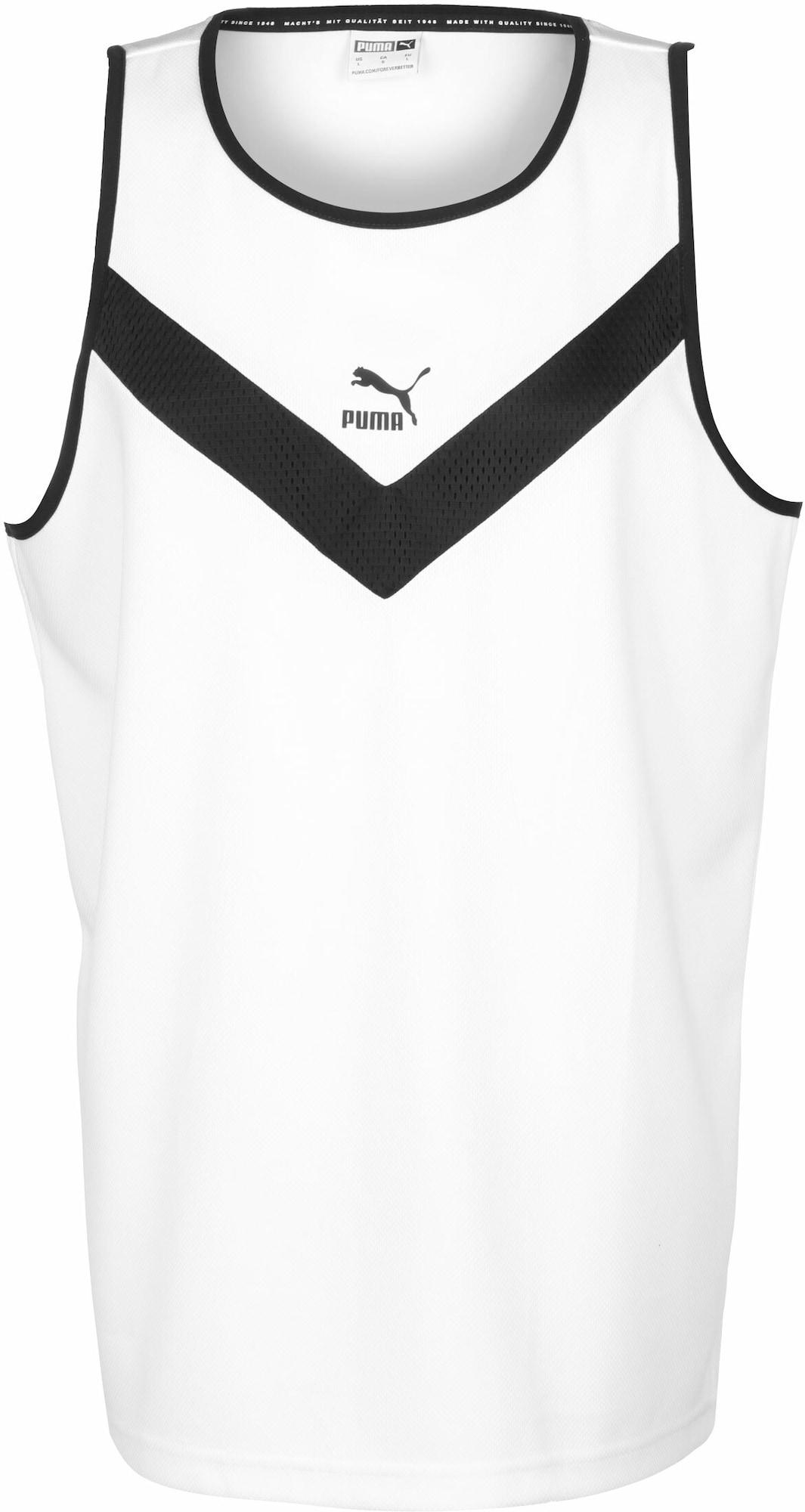 PUMA Marškinėliai juoda / balta