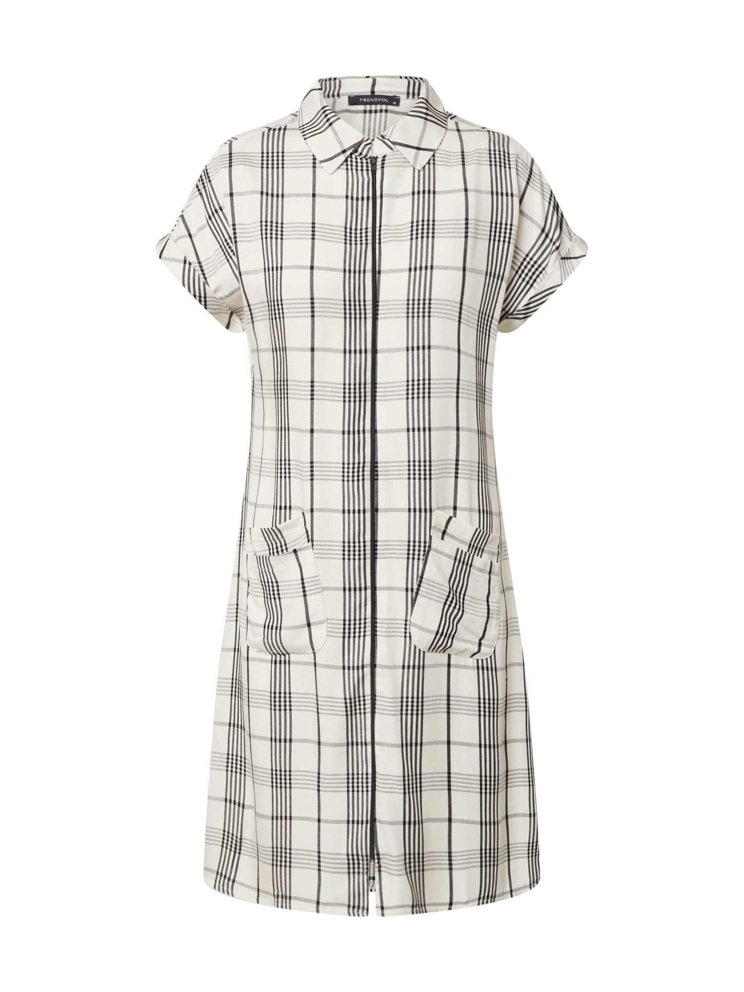 Trendyol Palaidinės tipo suknelė balta / juoda