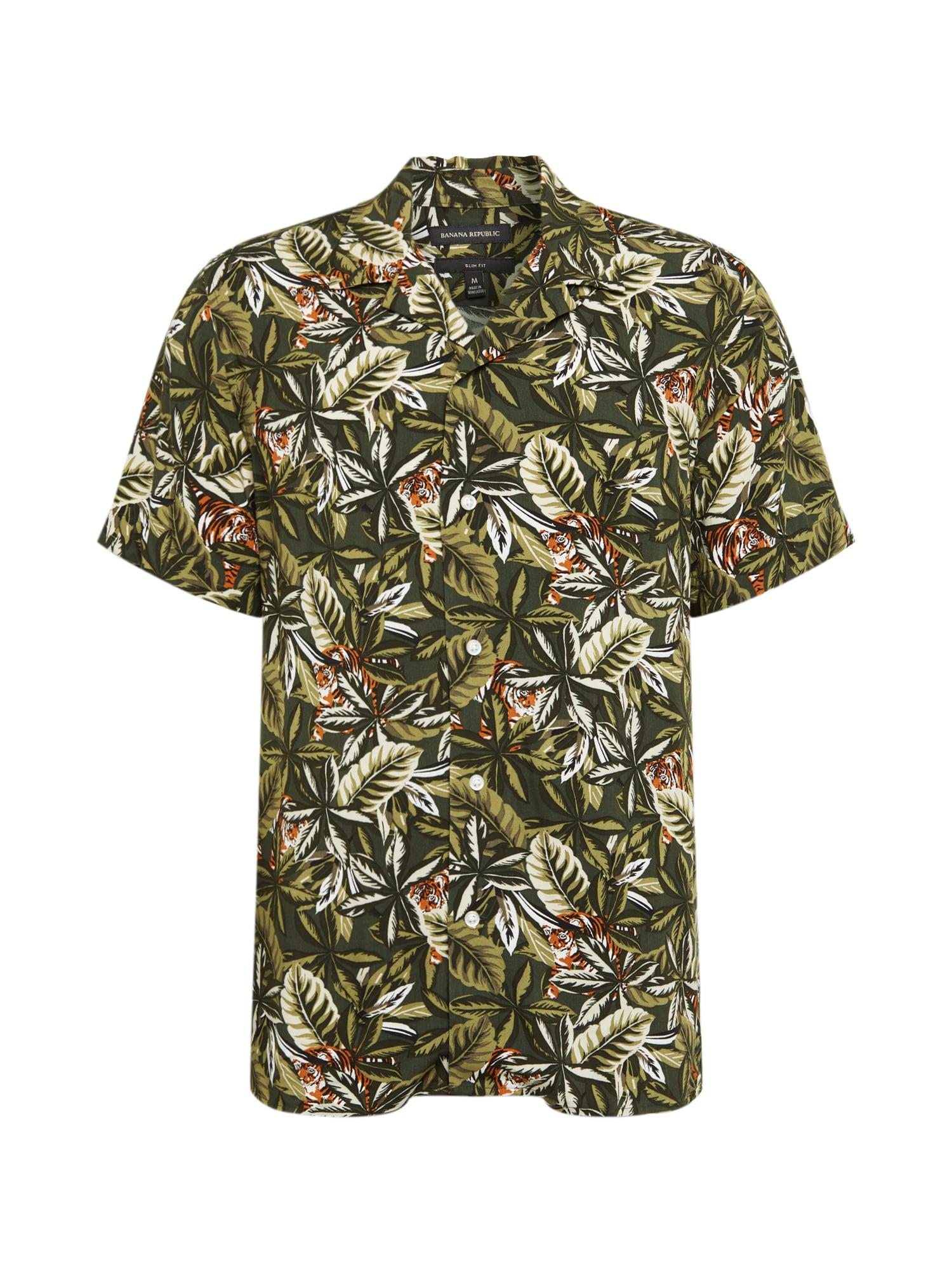 Banana Republic Dalykiniai marškiniai 'RAYON CAMP' alyvuogių spalva / mišrios spalvos