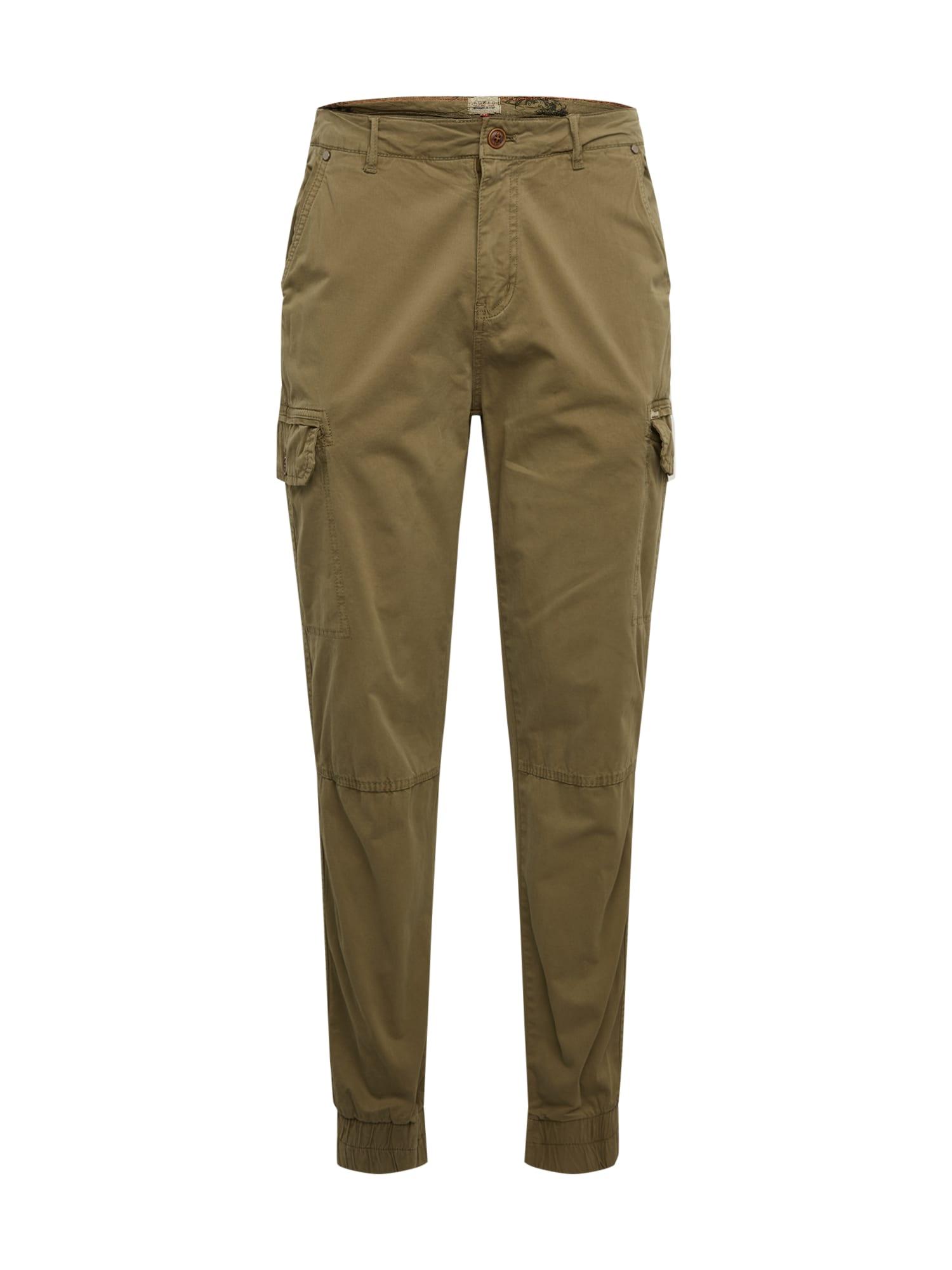 BLEND Laisvo stiliaus kelnės rusvai žalia