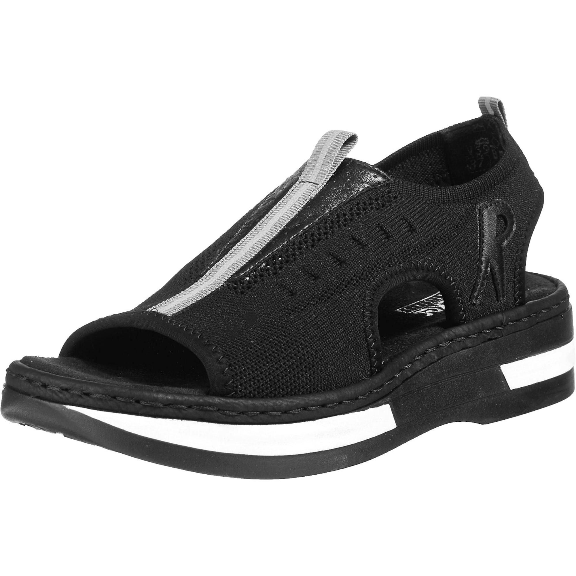 RIEKER Sandalai juoda / balta / šviesiai pilka