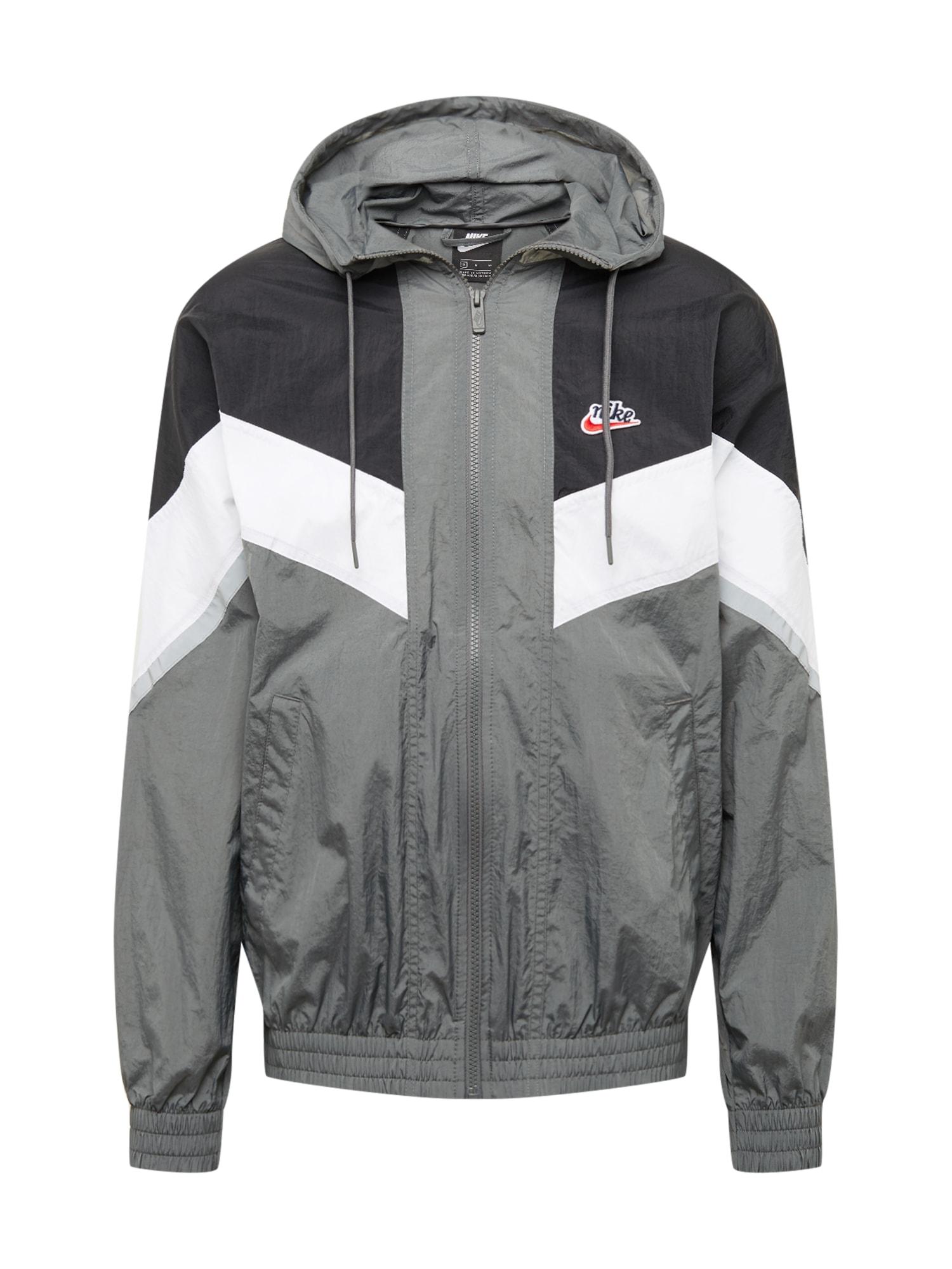 Nike Sportswear Demisezoninė striukė pilka / balta / juoda