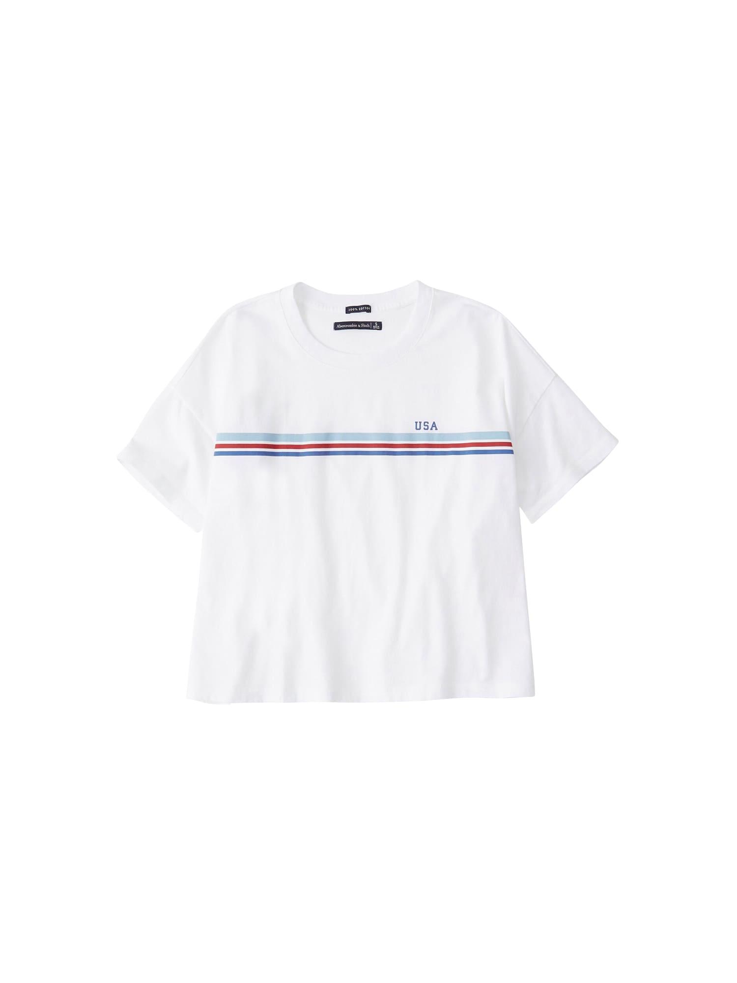Tričko BOXY AMERICANA modrá červená bílá Abercrombie & Fitch