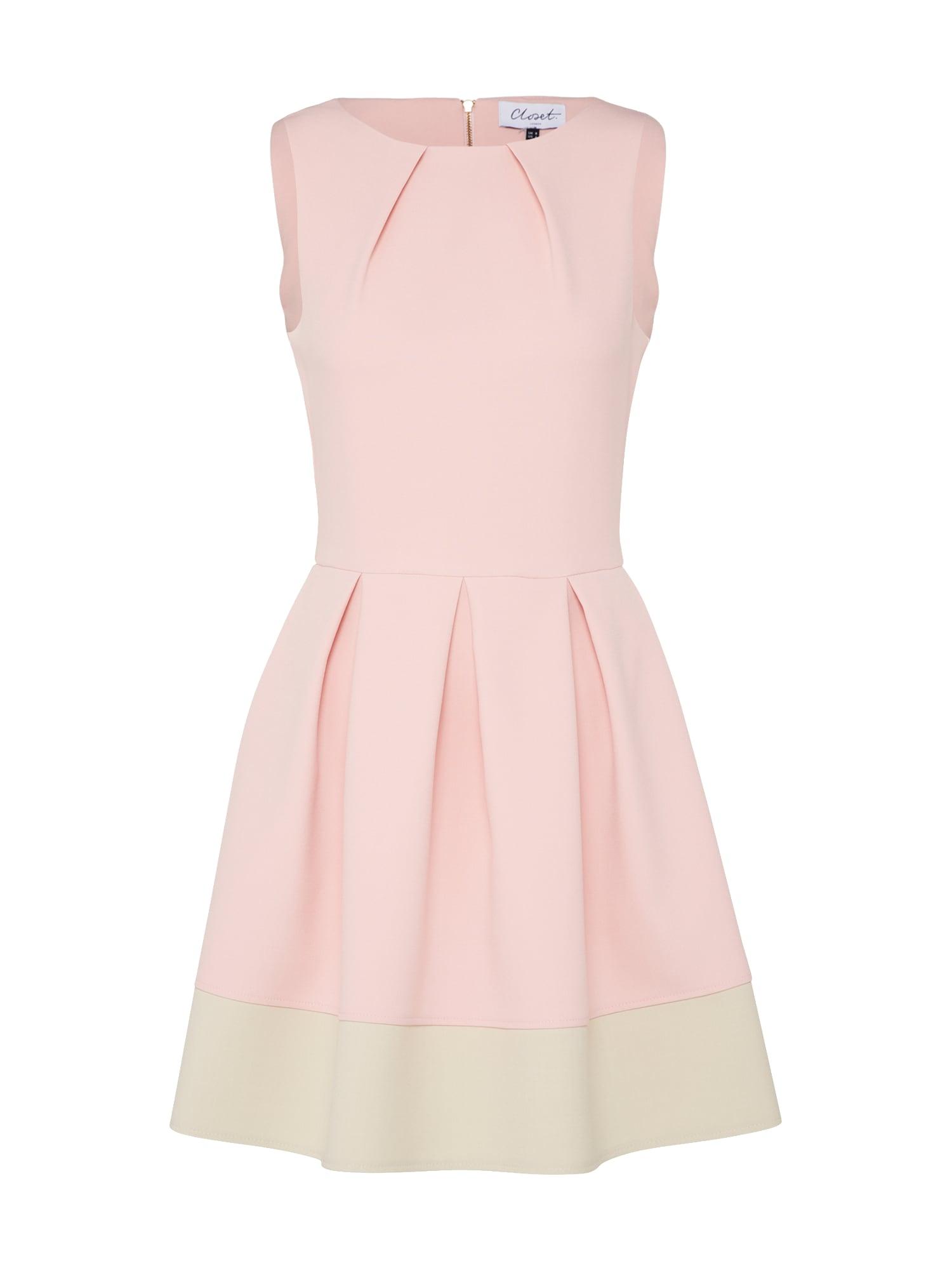 Closet London Trumpa kokteilinė suknelė rožinė / natūrali balta