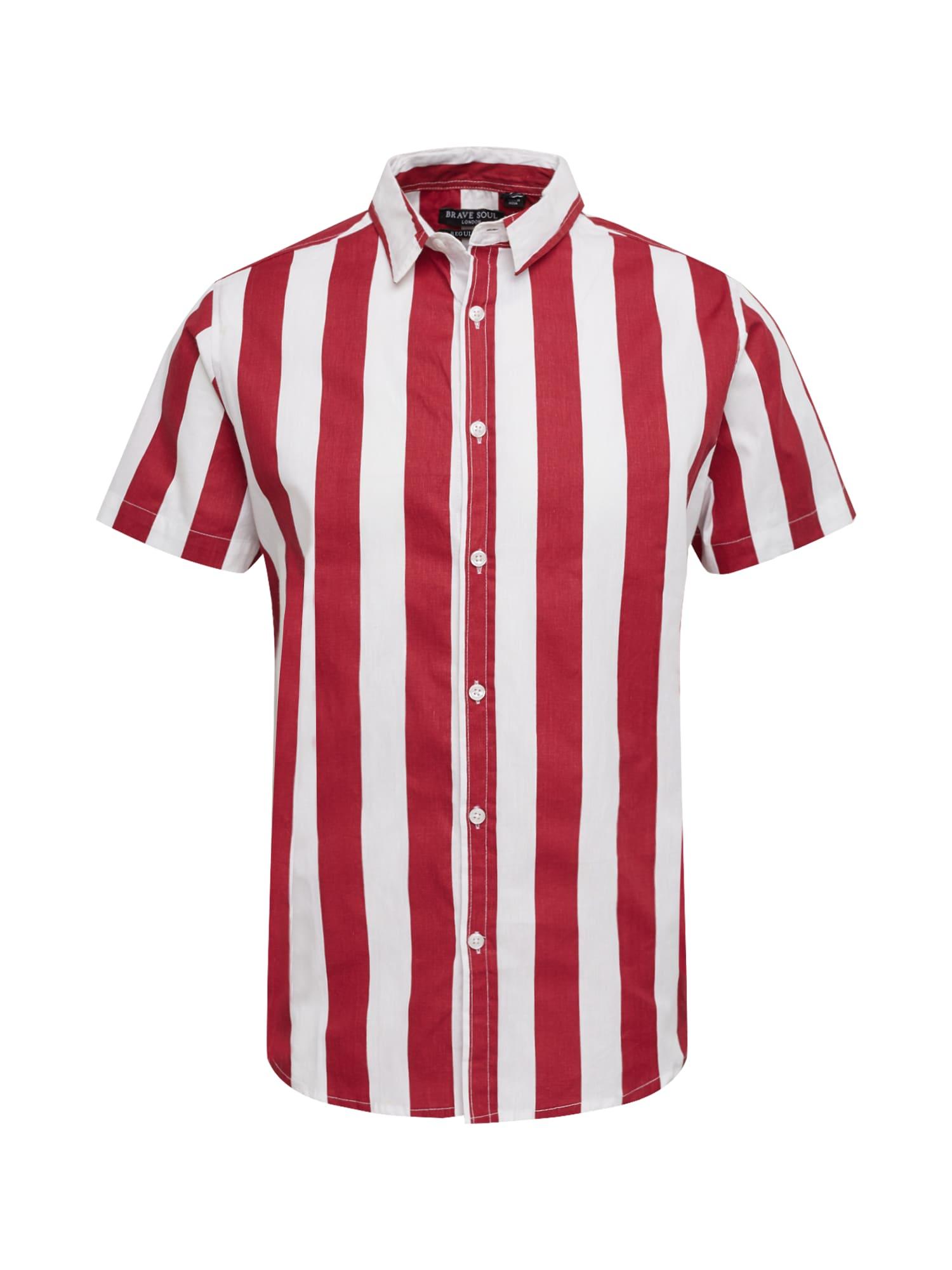 BRAVE SOUL Dalykiniai marškiniai 'MSH-77BOBBY' balta / raudona