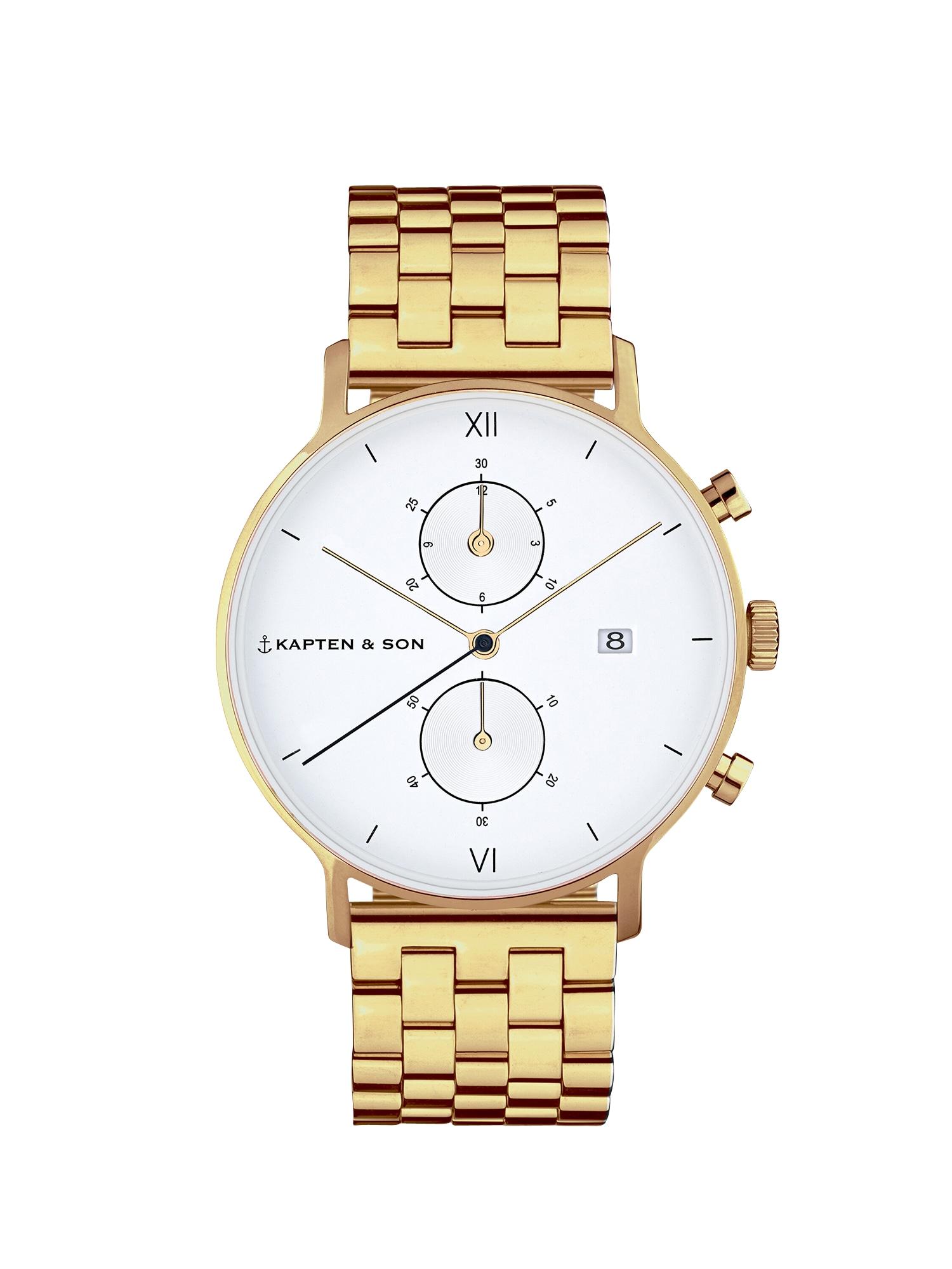Kapten & Son Analoginis (įprastinio dizaino) laikrodis 'Small Chrono Steel' auksas