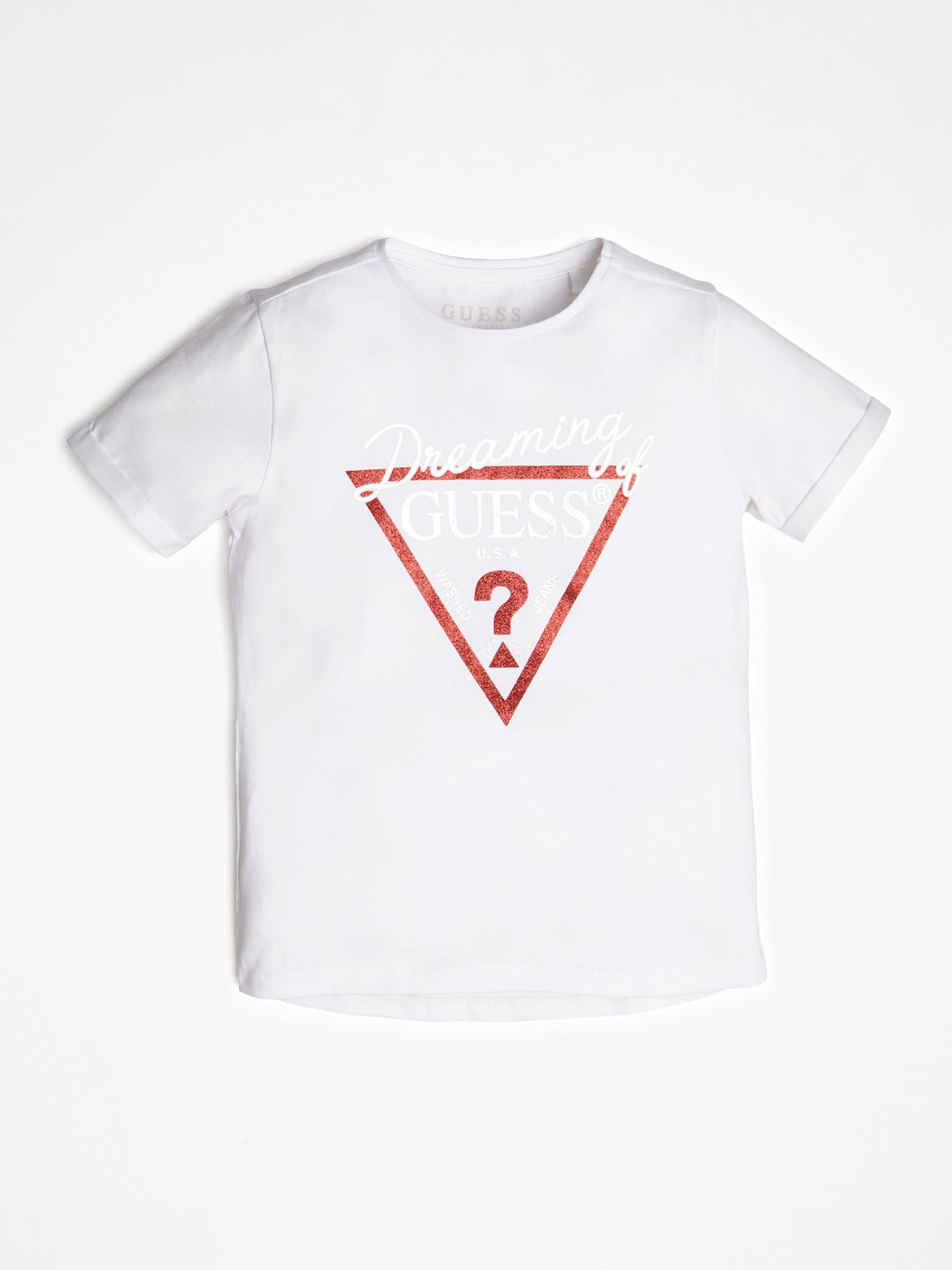 Kinder,  Mädchen,  Kinder GUESS KIDS T-Shirt rosa,  schwarz, rot,  silber,  weiß   07613414583675