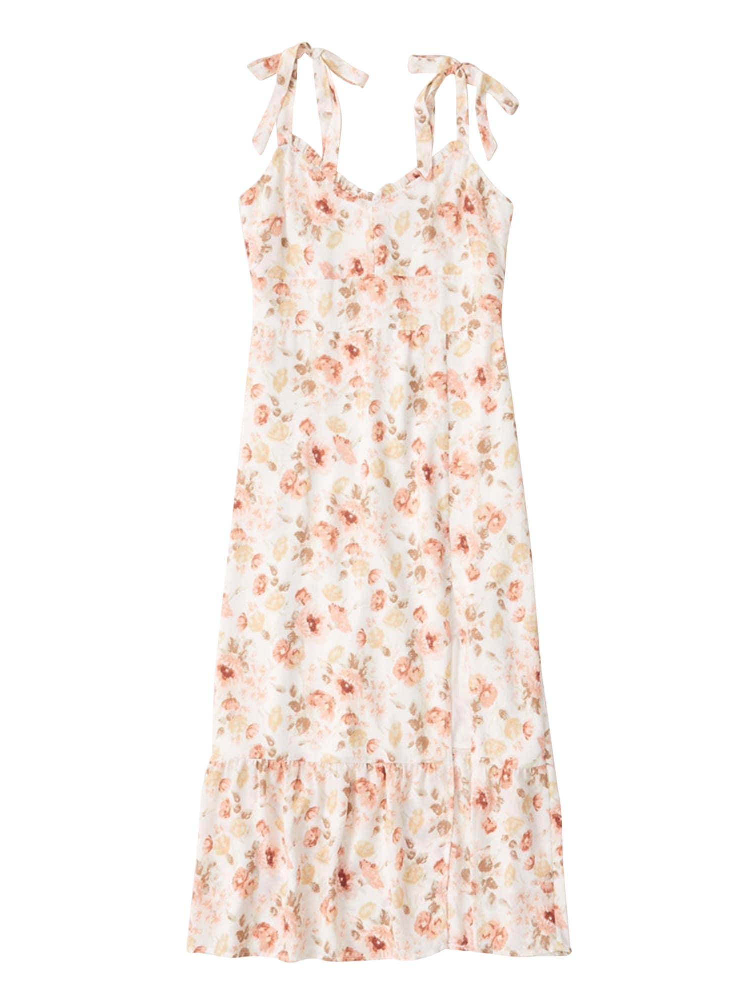 Abercrombie & Fitch Vasarinė suknelė rožių spalva / balta
