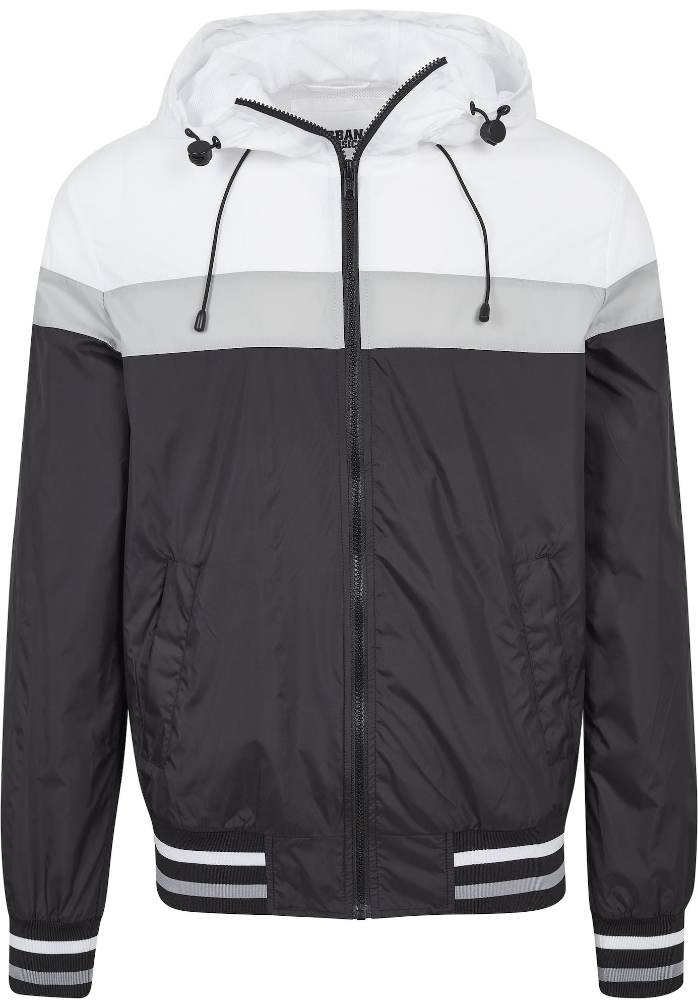 Urban Classics Prechodná bunda 'Windrunner'  biela / sivá / čierna