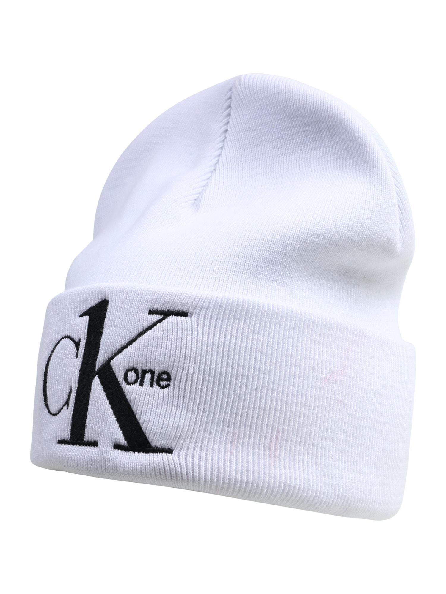 Calvin Klein Jeans Megzta kepurė 'CK1' juoda / balta