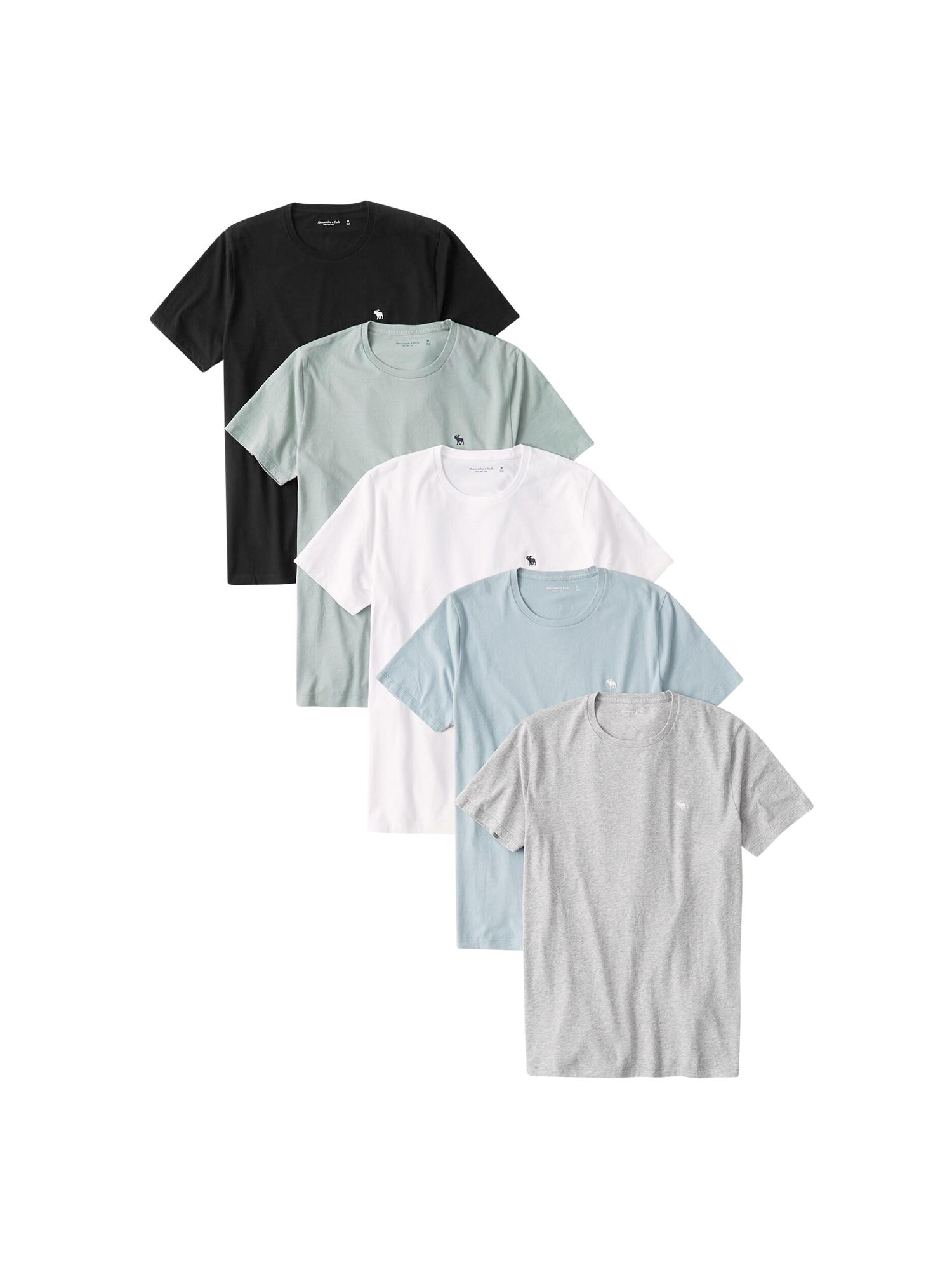 Abercrombie & Fitch Marškinėliai balta / juoda / pilka / mėlyna / žalia
