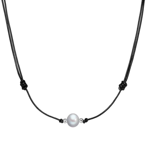 Ketten für Frauen - Valero Pearls Echtleder Kette mit Süßwasser Zuchtperle opal schwarz silber  - Onlineshop ABOUT YOU