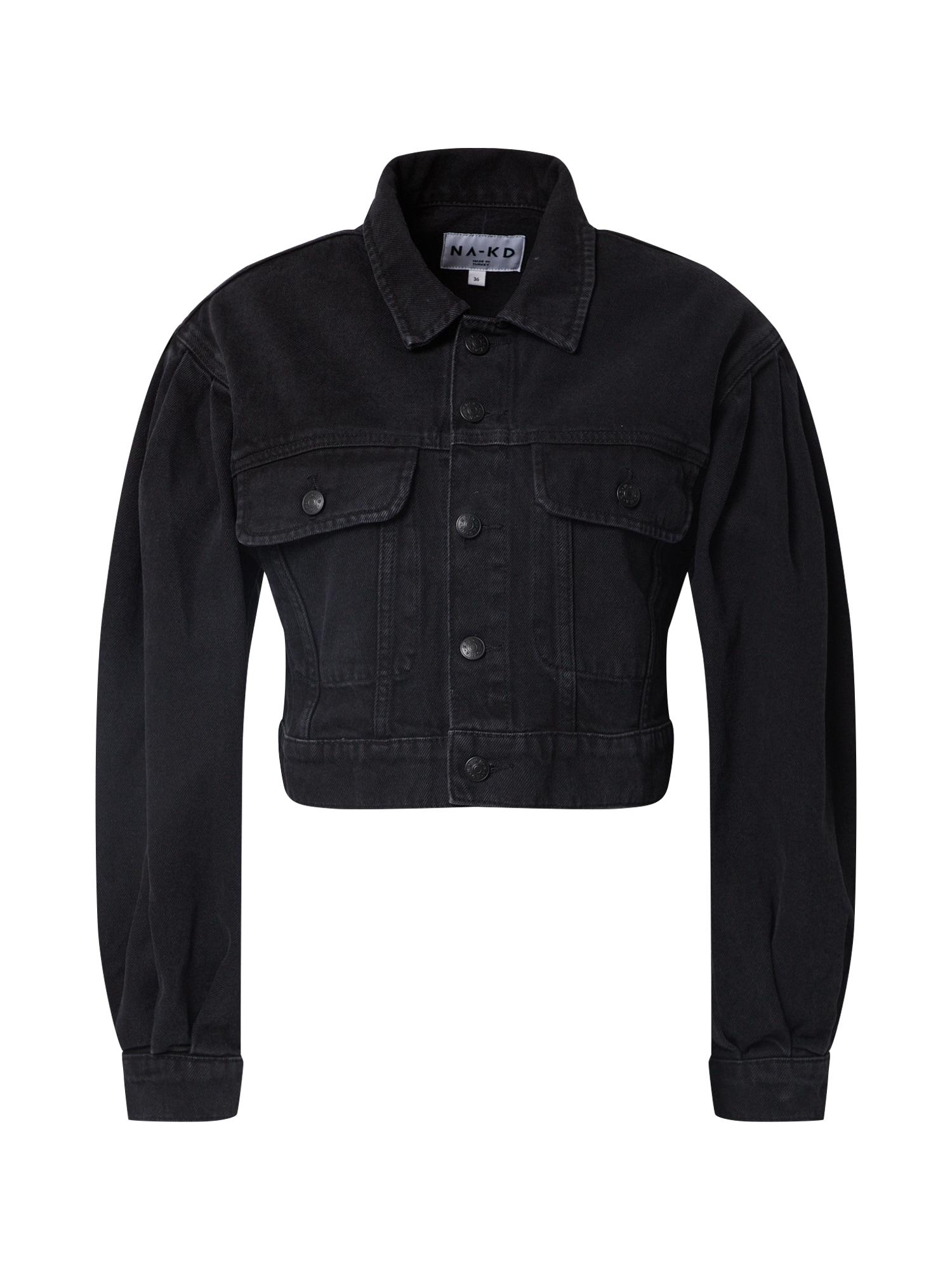 NA-KD Demisezoninė striukė 'puff sleeve oversized denim jacket' juoda