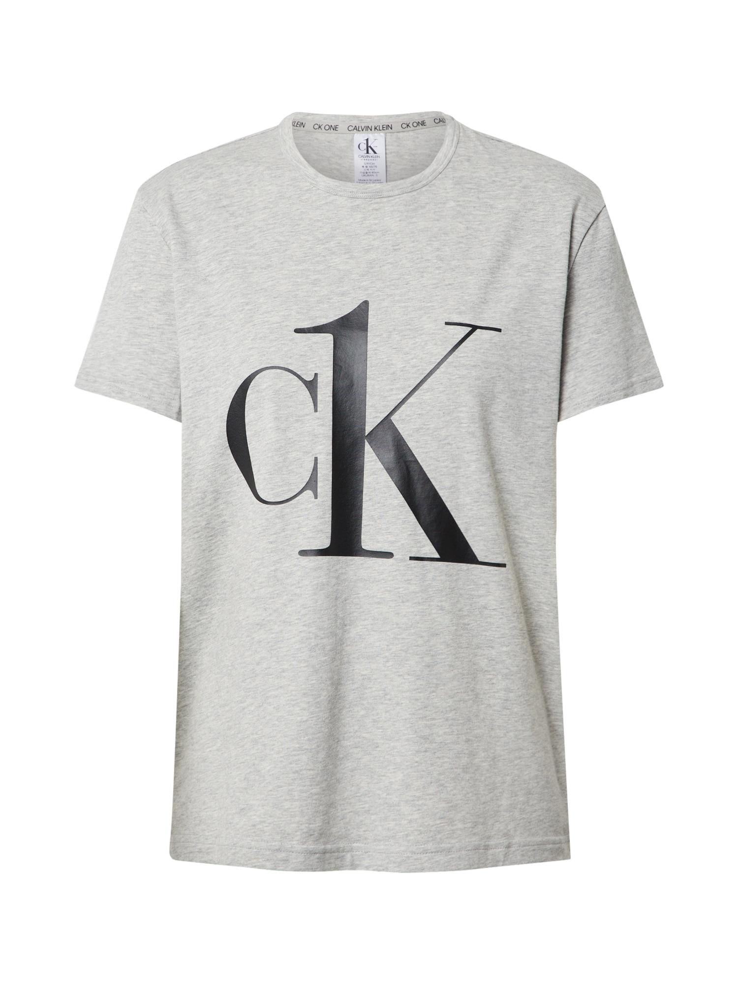 Calvin Klein Underwear Pižaminiai marškinėliai juoda / pilka