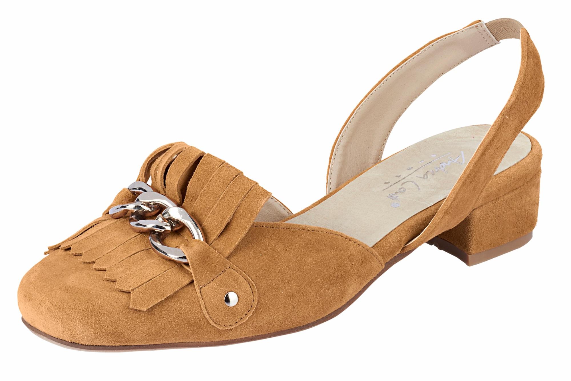 Slingpumps mit Fransen und Metallkette | Schuhe > Pumps > Slingpumps | Andrea Conti