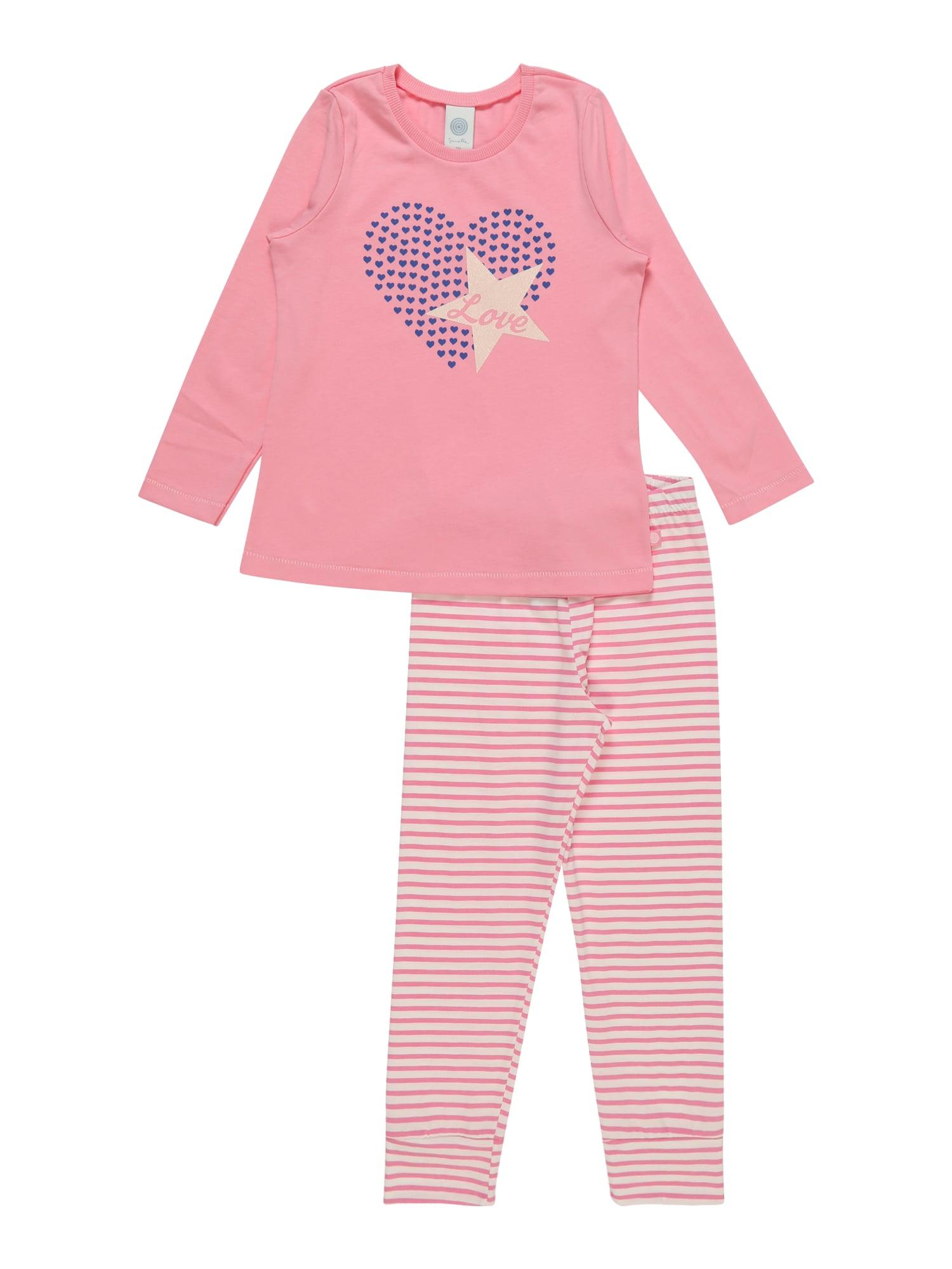 Pyžamo krémová světle fialová růžová SANETTA