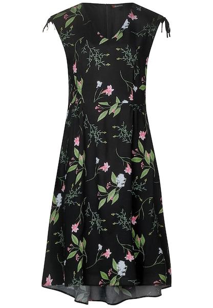 Kleider für Frauen - STREET ONE Blumenprint Kleid mit V Neck schwarz  - Onlineshop ABOUT YOU