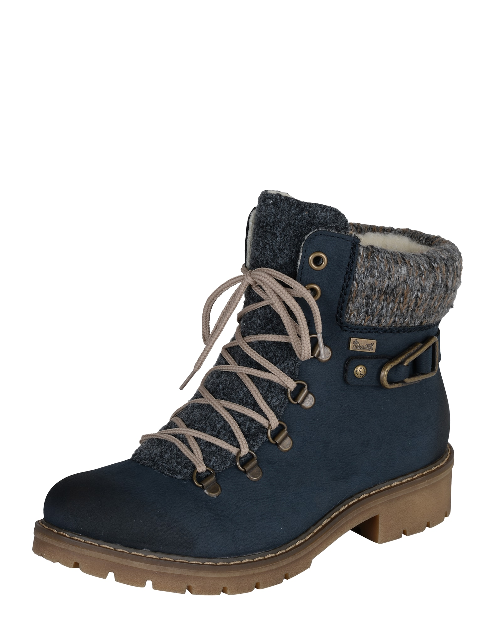 RIEKER Suvarstomieji kulkšnis dengiantys batai tamsiai mėlyna / rusvai pilka