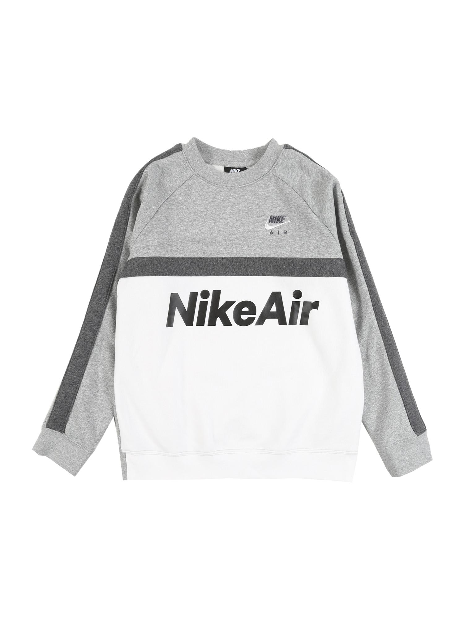 Nike Sportswear Megztinis be užsegimo 'AIR CREW' pilka / balta