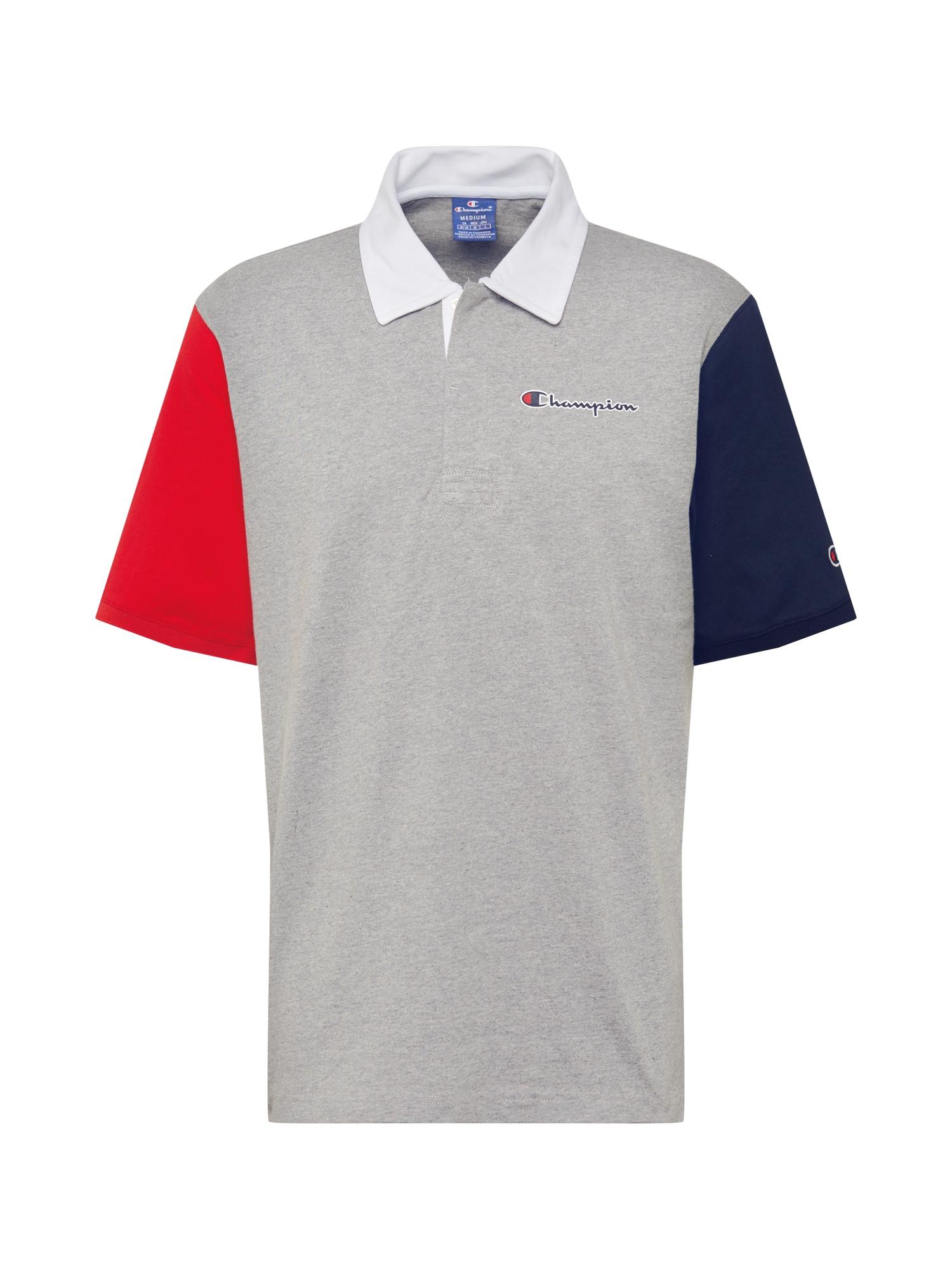 Champion Authentic Athletic Apparel Marškinėliai mėlyna / pilka / raudona