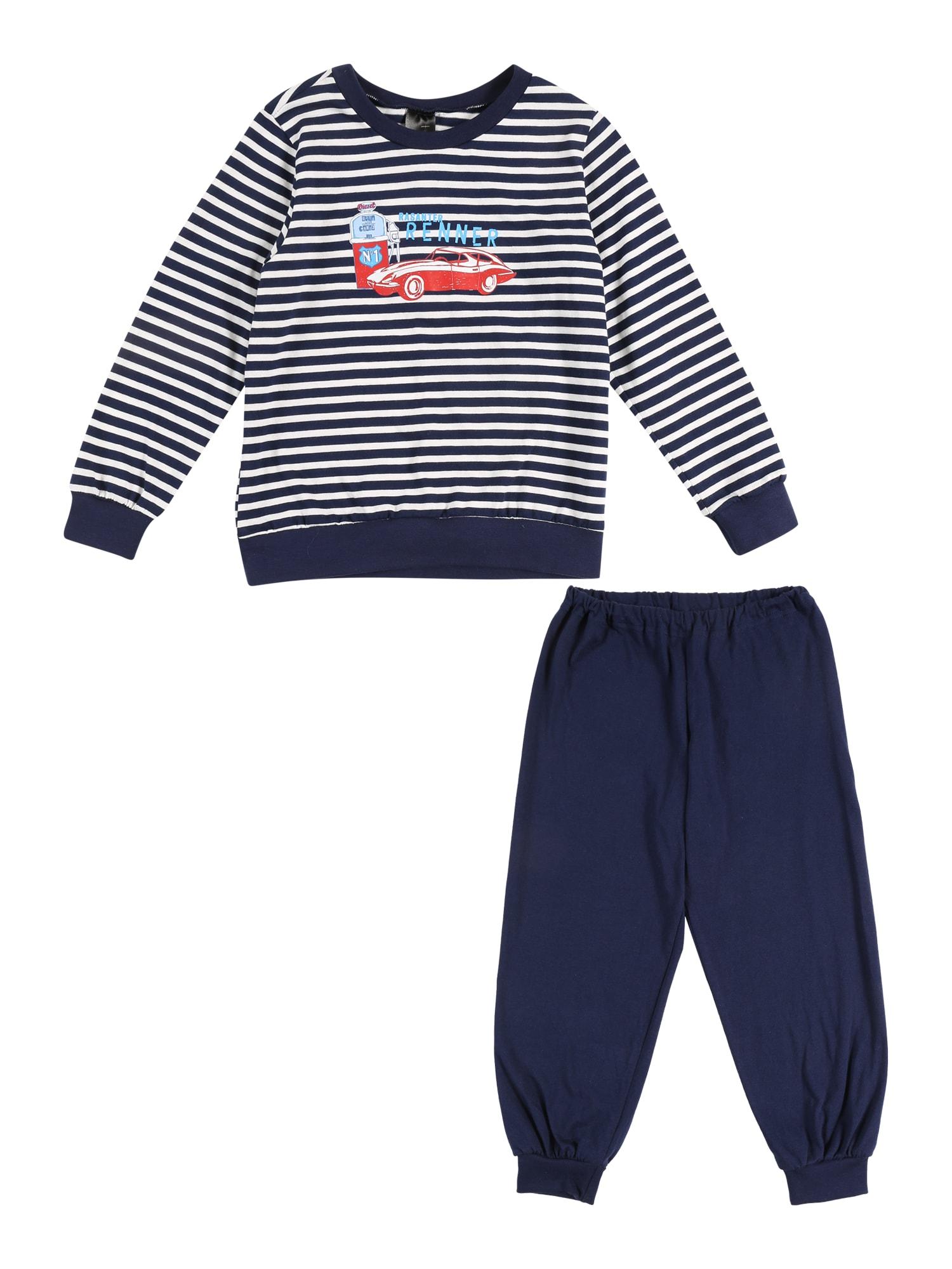 Pyžamo námořnická modř mix barev bílá SCHIESSER