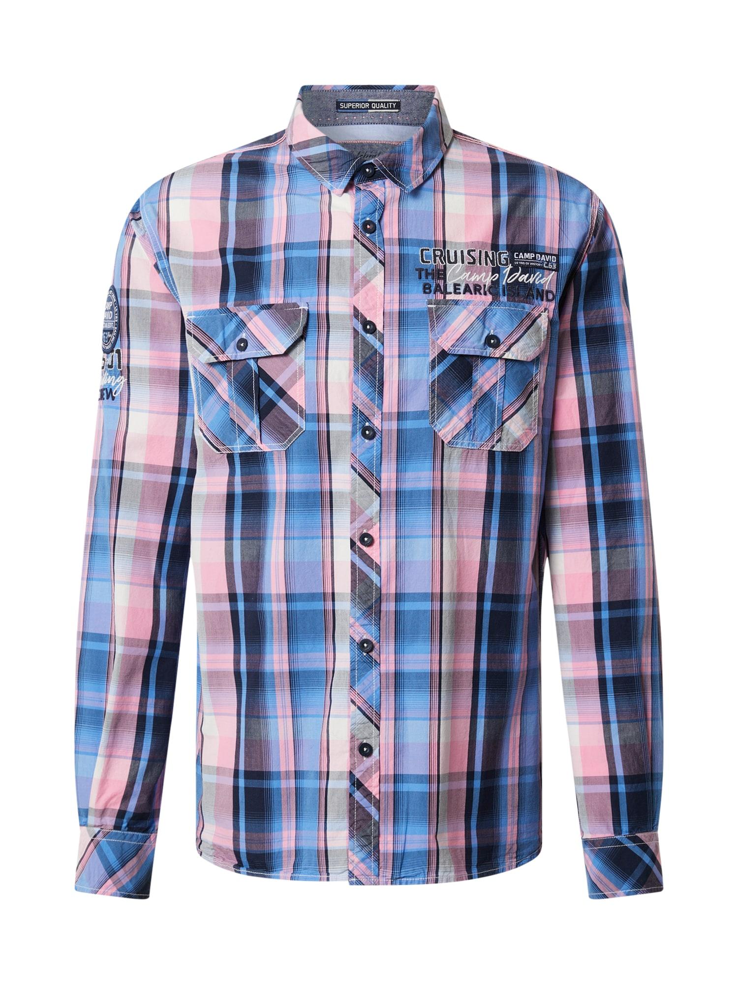CAMP DAVID Marškiniai kobalto mėlyna / šviesiai mėlyna / rožių spalva
