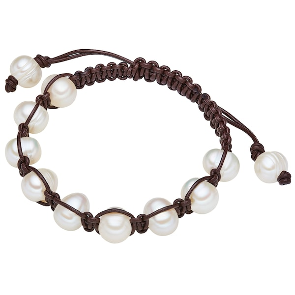 Armbaender für Frauen - Valero Pearls Echtlederarmband mit Süßwasser Zuchtperlen braun weiß  - Onlineshop ABOUT YOU