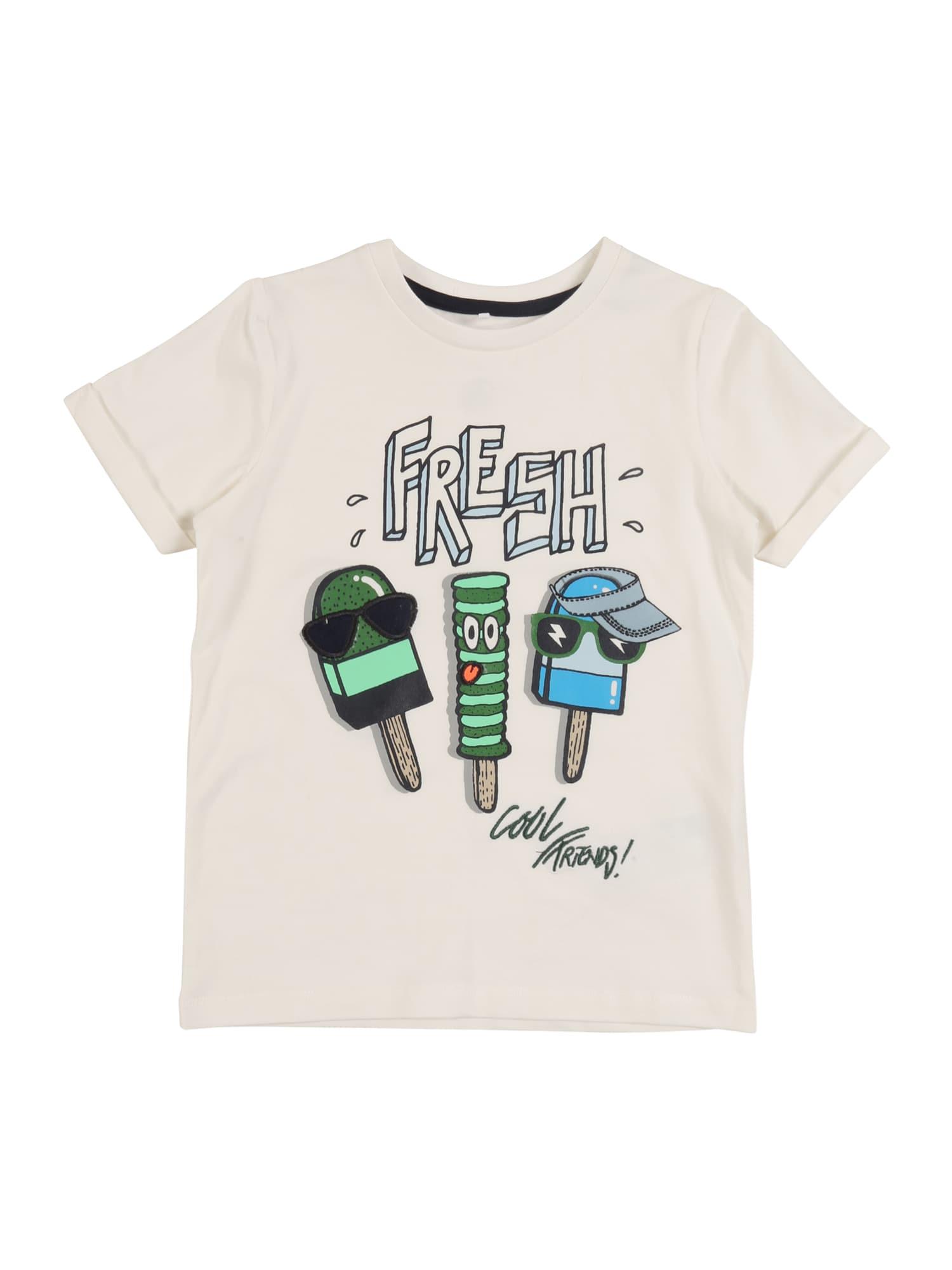 NAME IT Marškinėliai 'ZICENT' žalia / smėlio