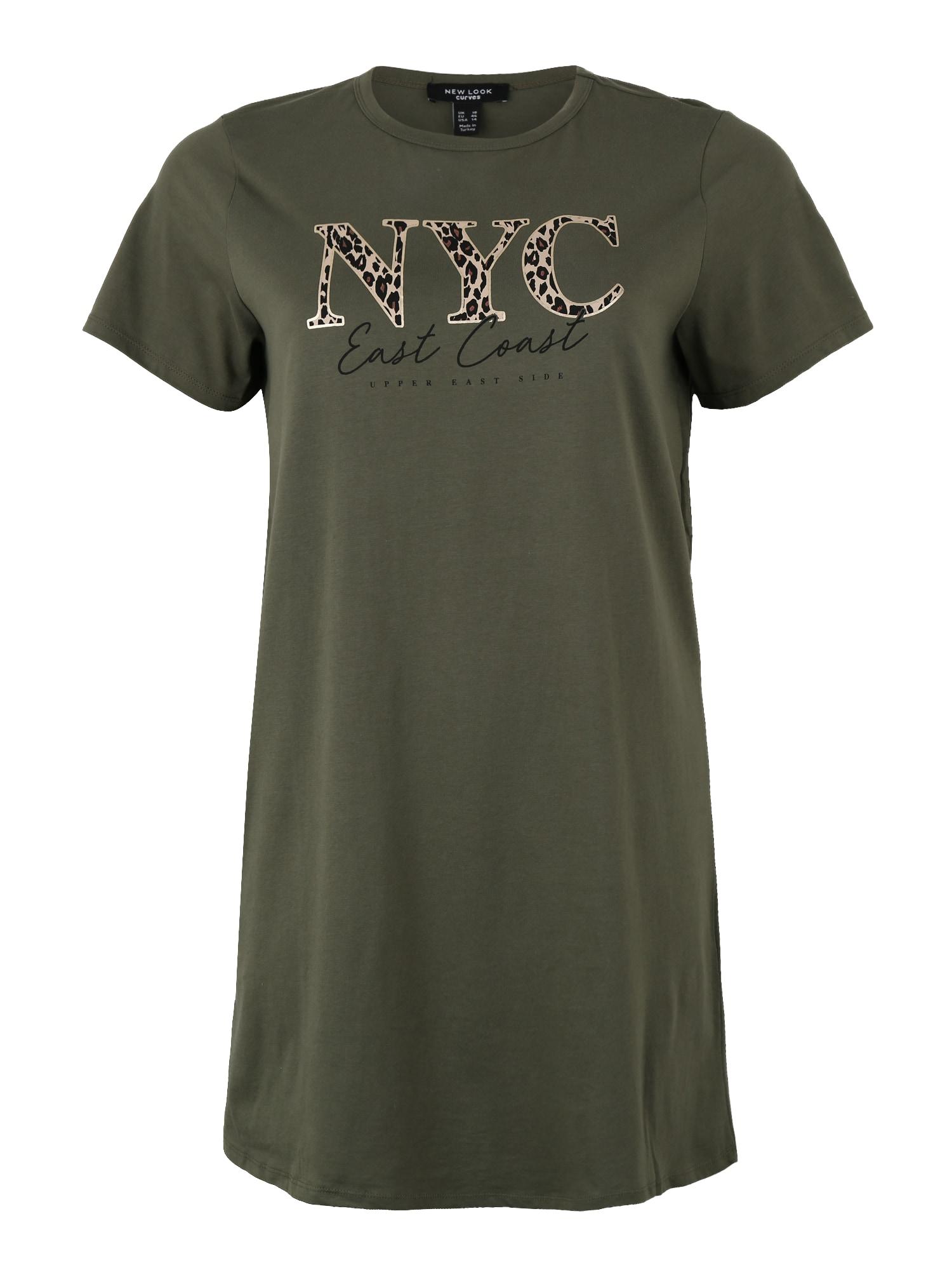 Šaty CURVES SLOGAN T SHIRT DRESS khaki New Look Curves
