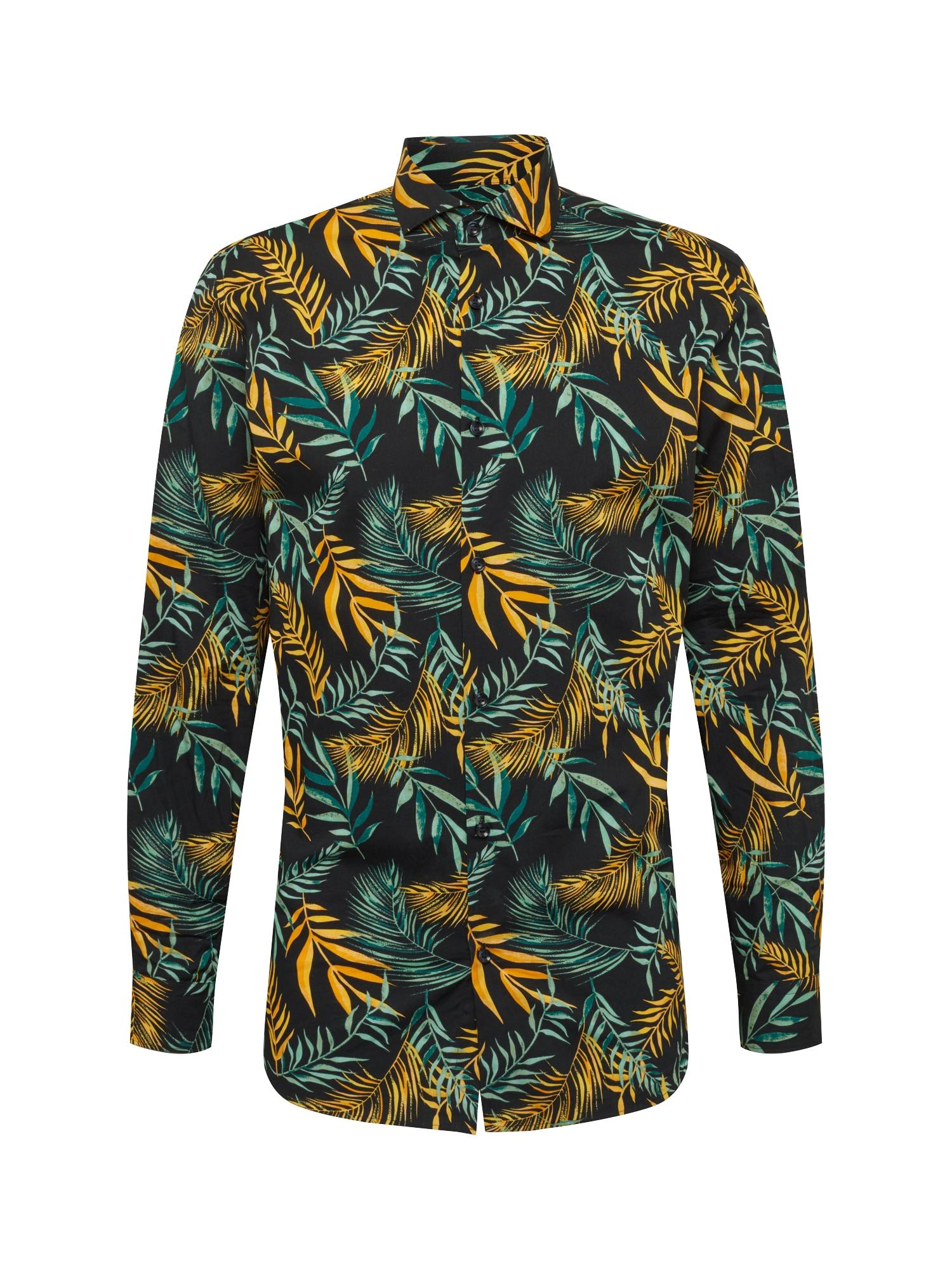 Košile SLHSLIMSEL-WINSTON SHIRT LS AOP B modrá tmavě modrá zlatá SELECTED HOMME