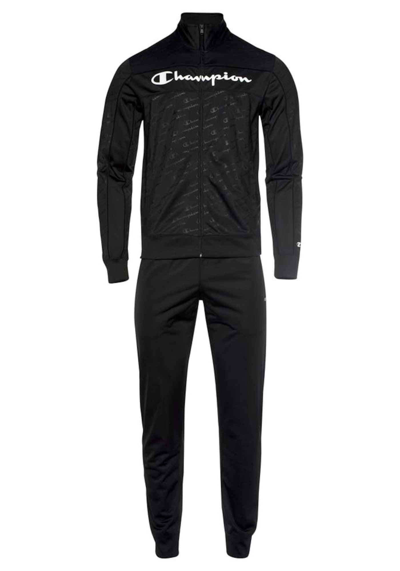 Champion Authentic Athletic Apparel Treniruočių kostiumas juoda / balta