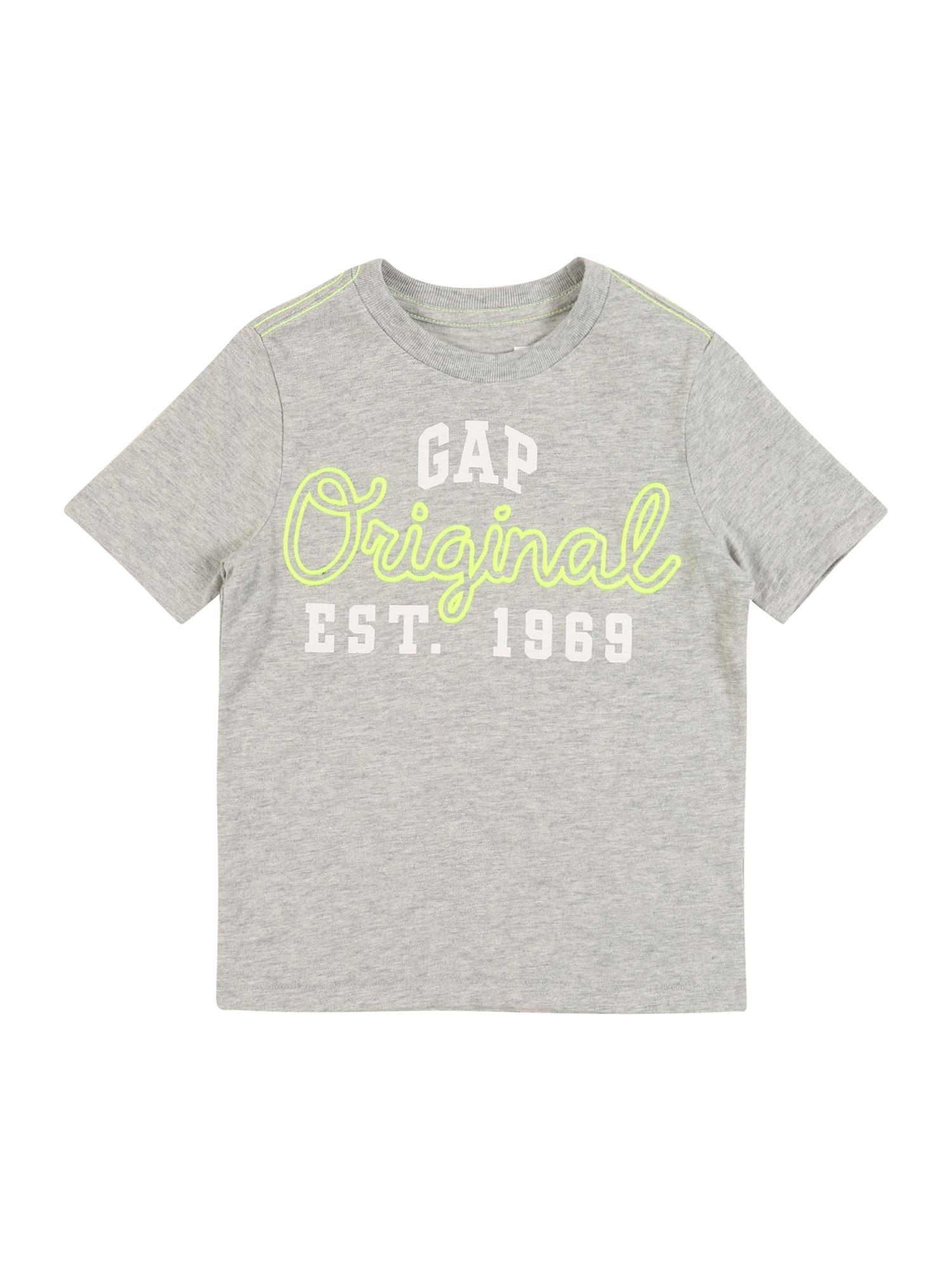 GAP Marškinėliai šviesiai pilka / balta / neoninė geltona
