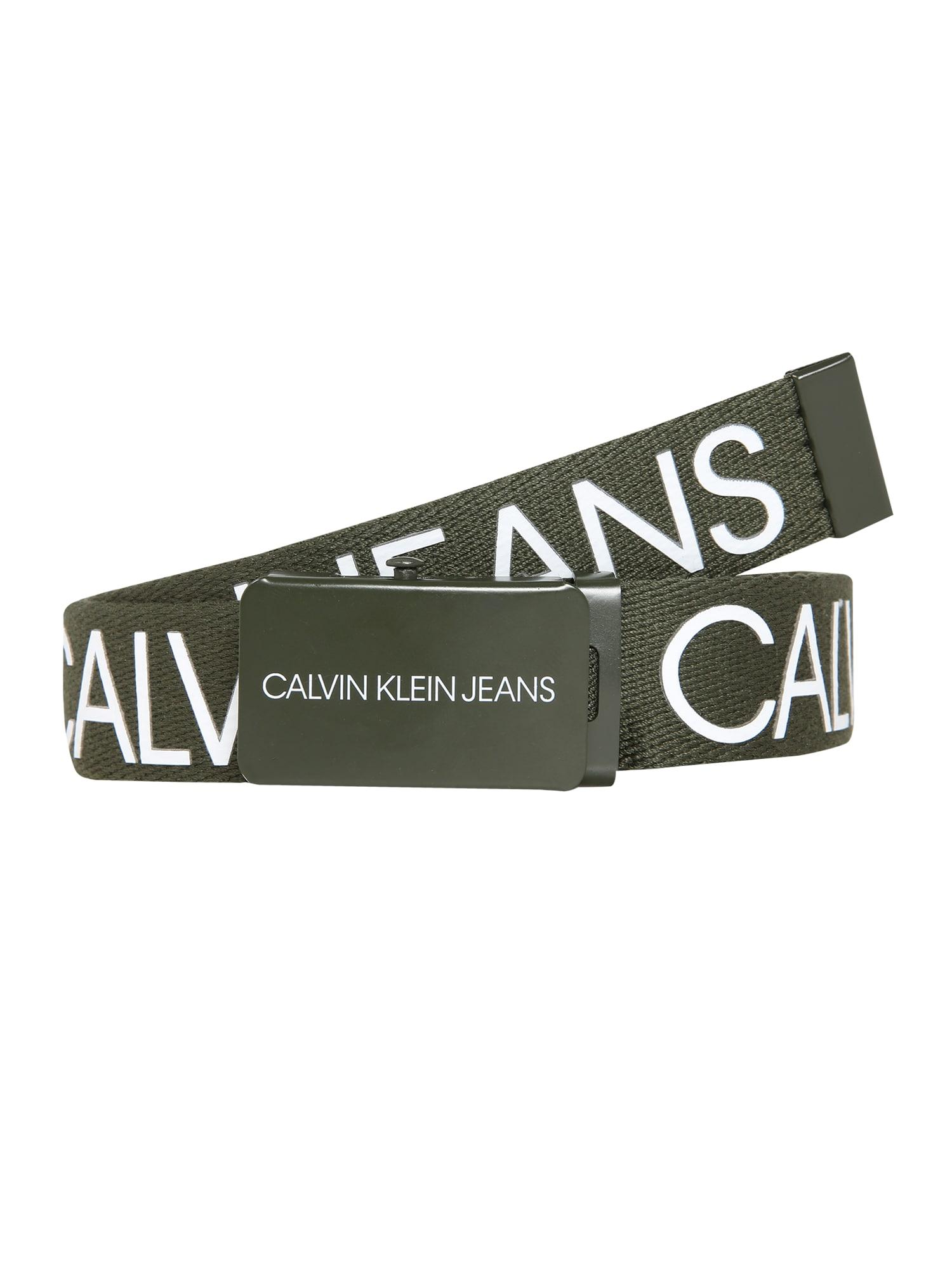 Calvin Klein Jeans Diržas alyvuogių spalva / balta