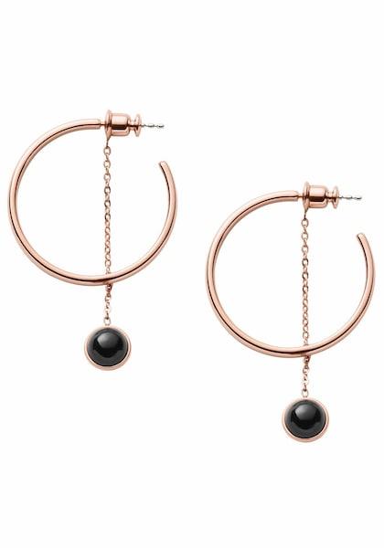 Ohrringe für Frauen - SKAGEN Creolen 'ELLEN, SKJ1042791' rosegold schwarz  - Onlineshop ABOUT YOU