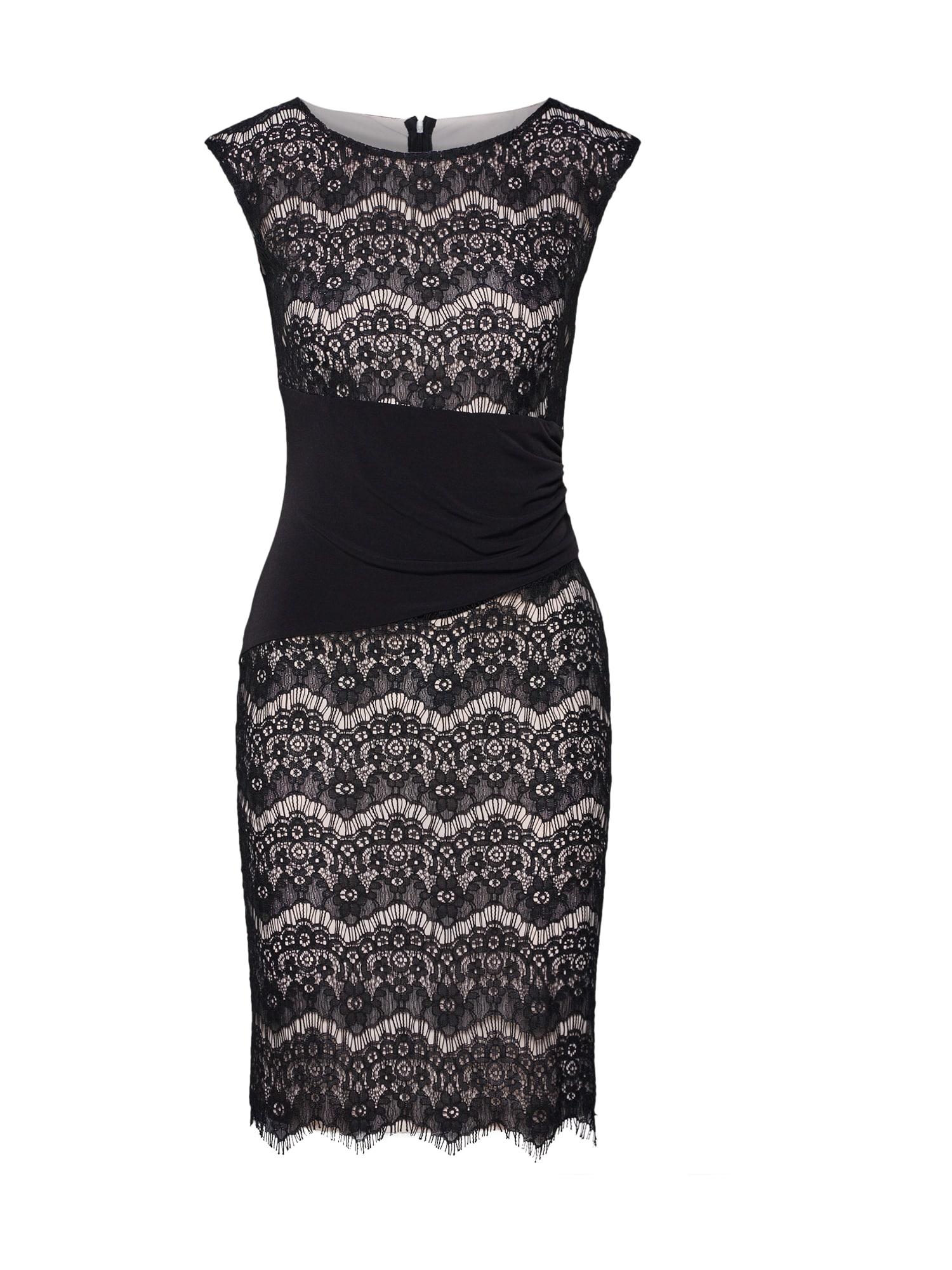 SWING Kokteilinė suknelė juoda / rožių spalva