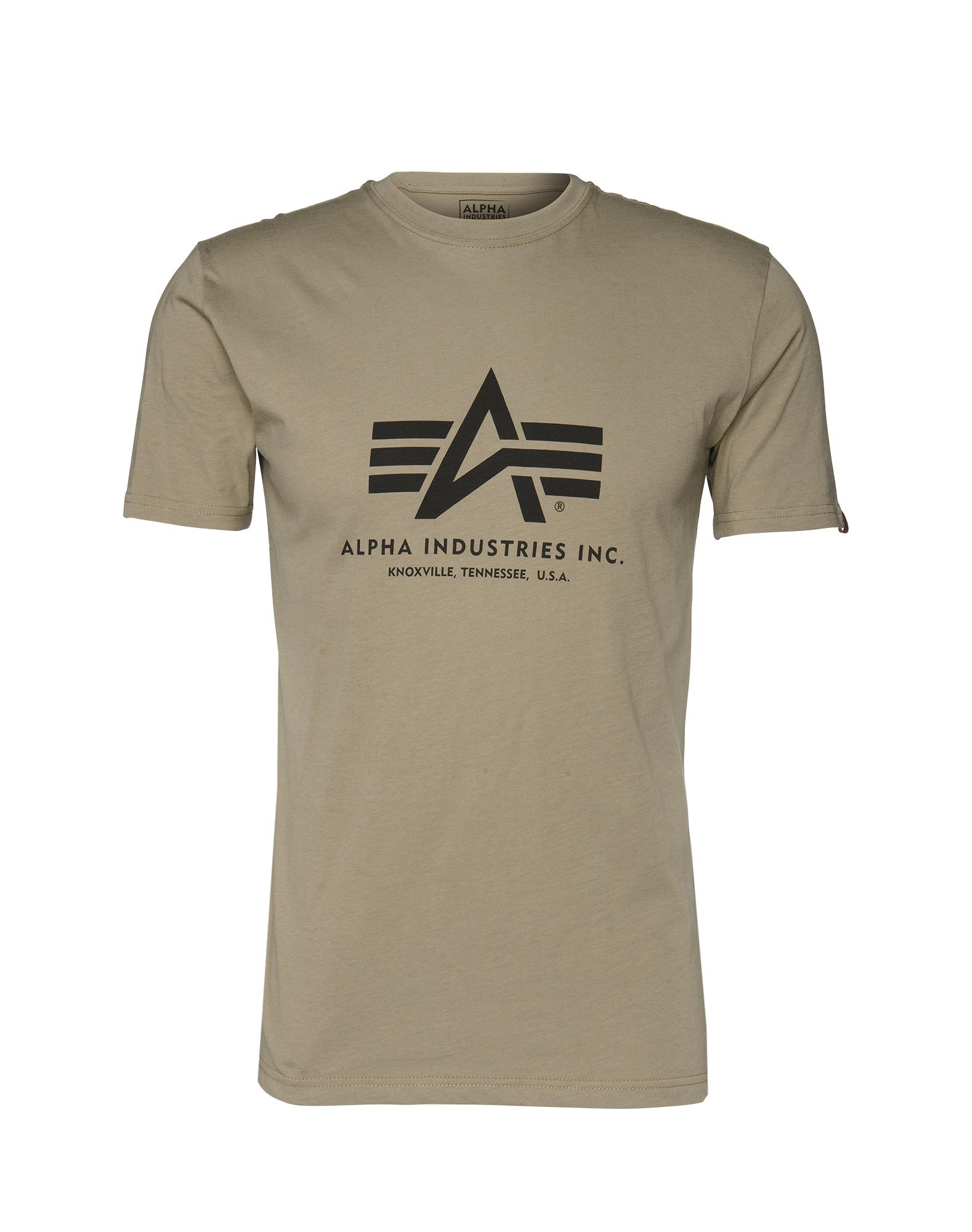ALPHA INDUSTRIES Marškinėliai alyvuogių spalva / juoda