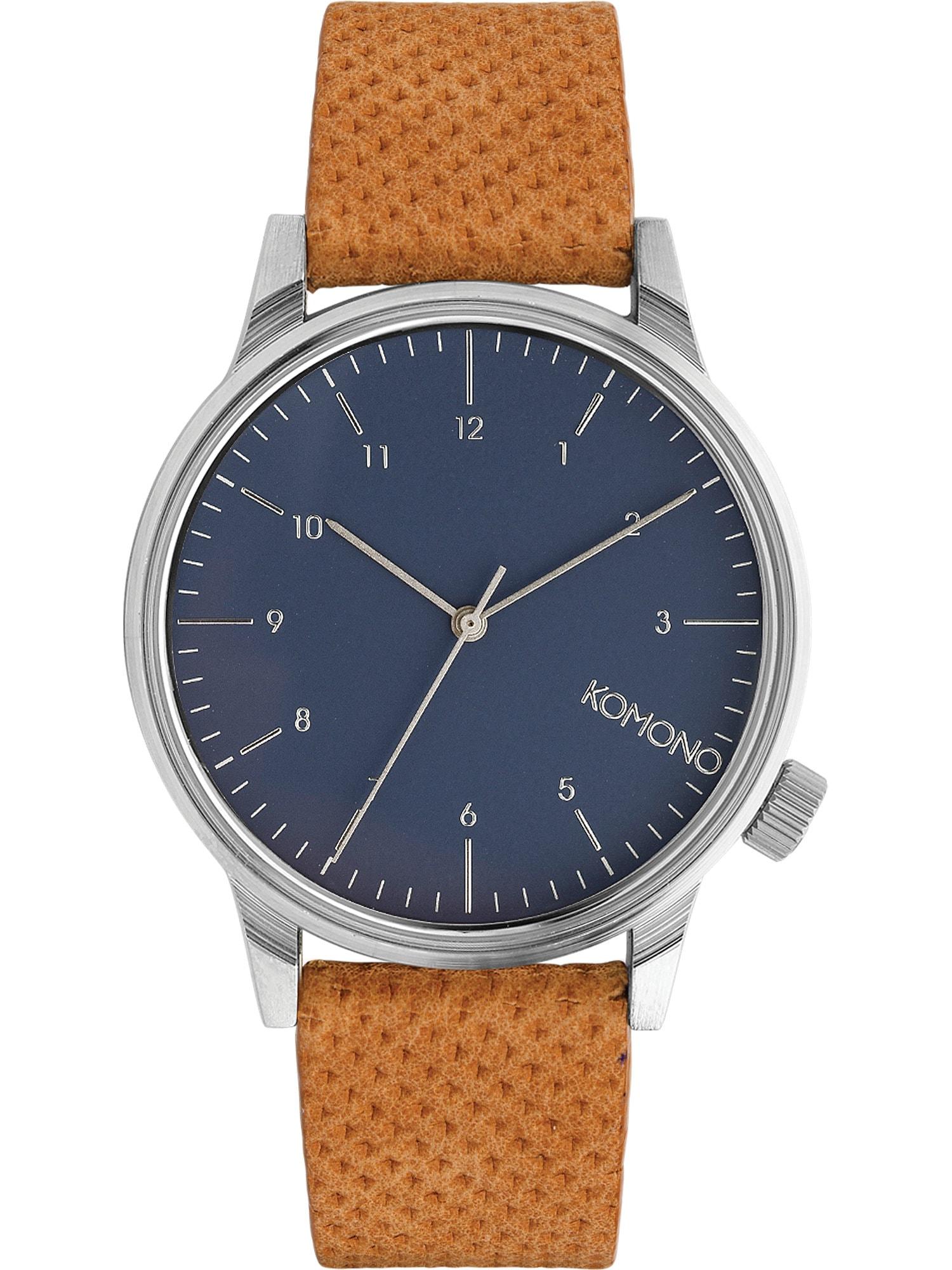 Analogové hodinky Winston námořnická modř koňaková stříbrná Komono